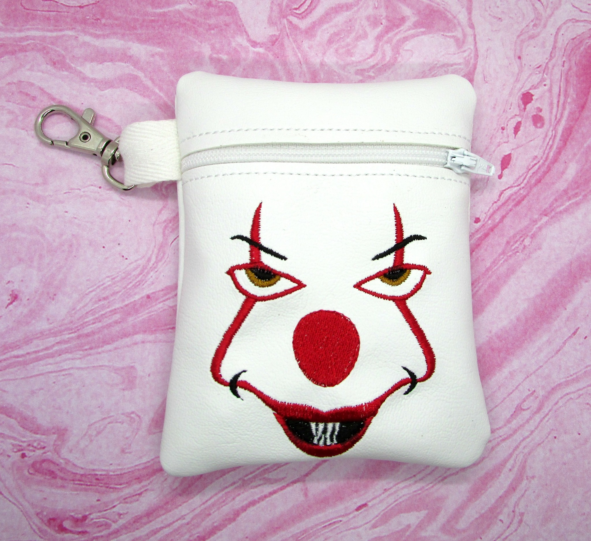 PennyWise Face Zipper Bag Embroidery Design (5x7, unlined)