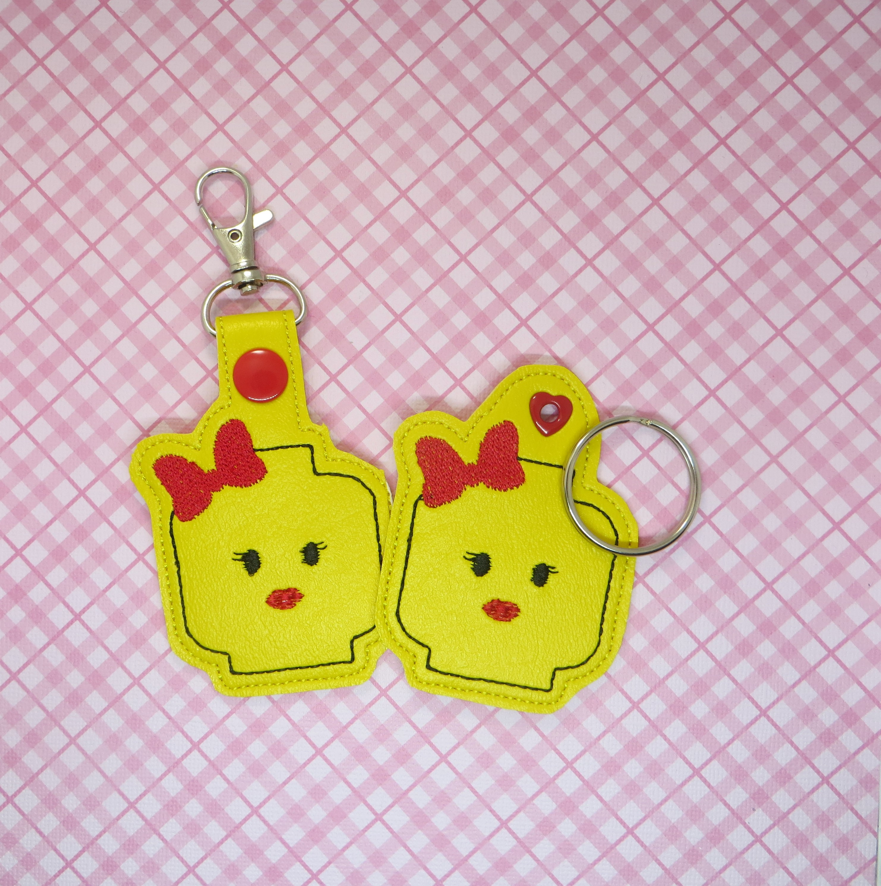 Block Girl Snaptab / Keyfob Embroidery Design