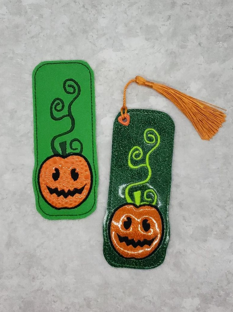 Pumpkin with Vines Bookmark Embroidery Design