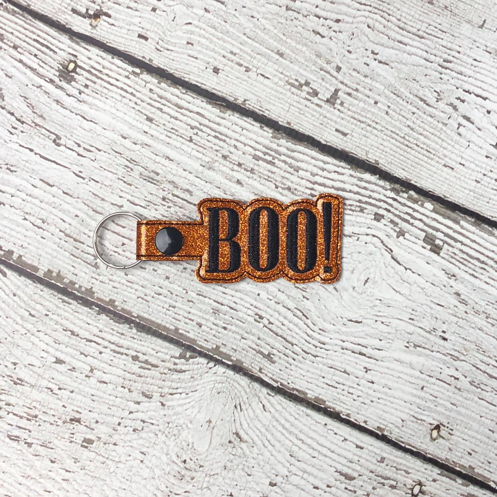 BOO! Word Halloween Snaptab Embroidery Design