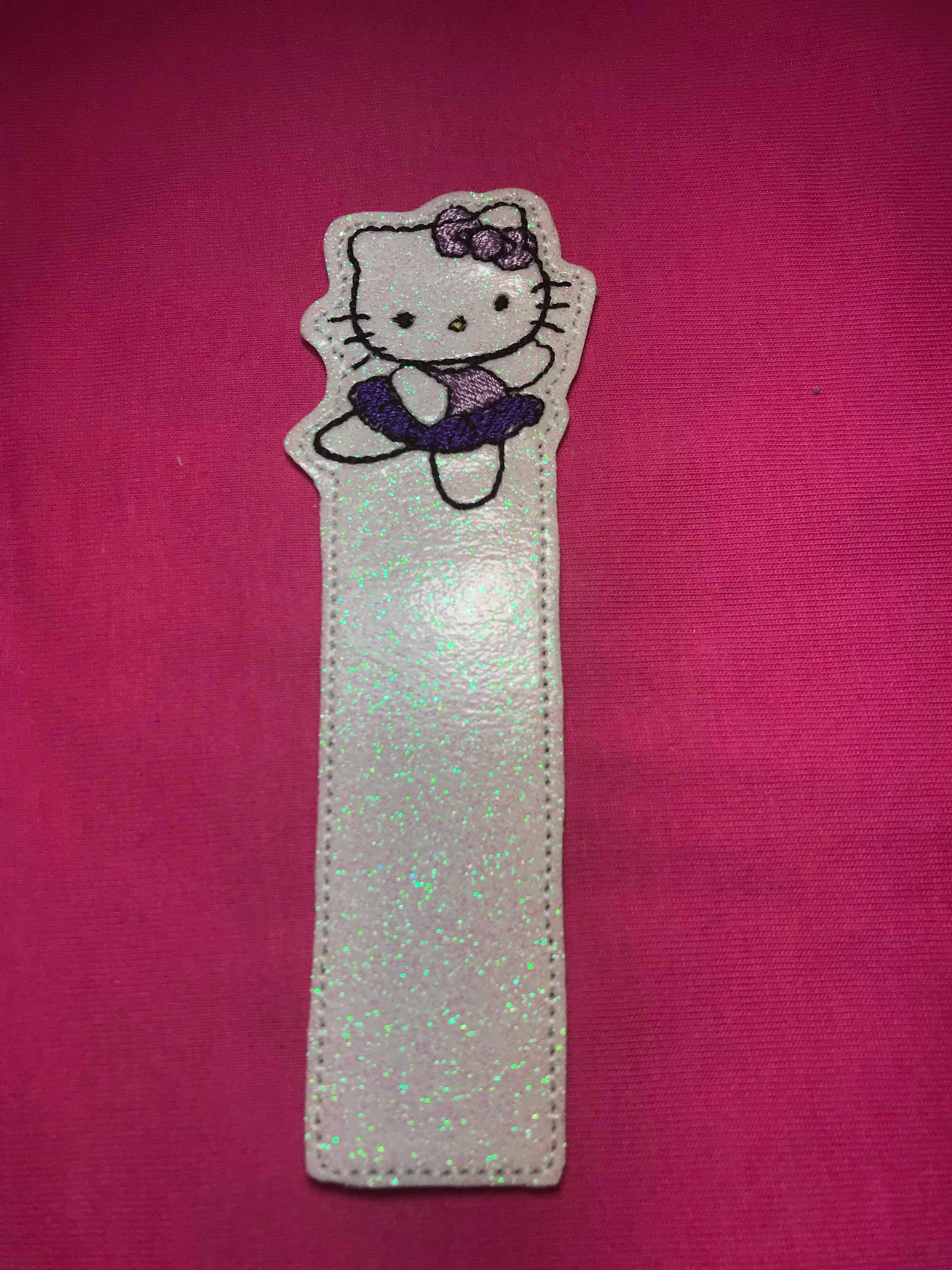 White Kitty Ballerina Bookmark Embroidery Design