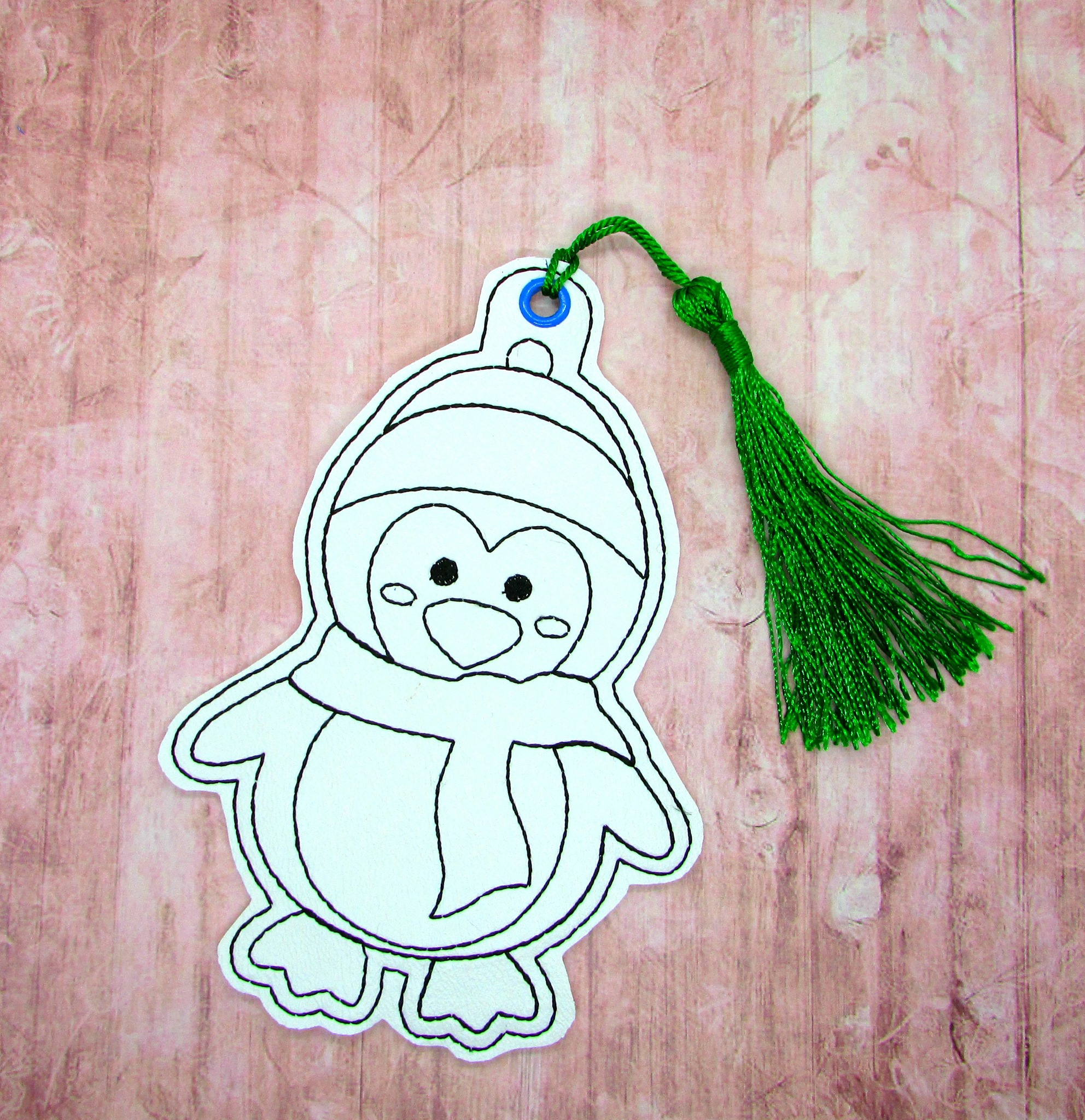 Penguin with Scarf Coloring Bookmark Embroidery Design
