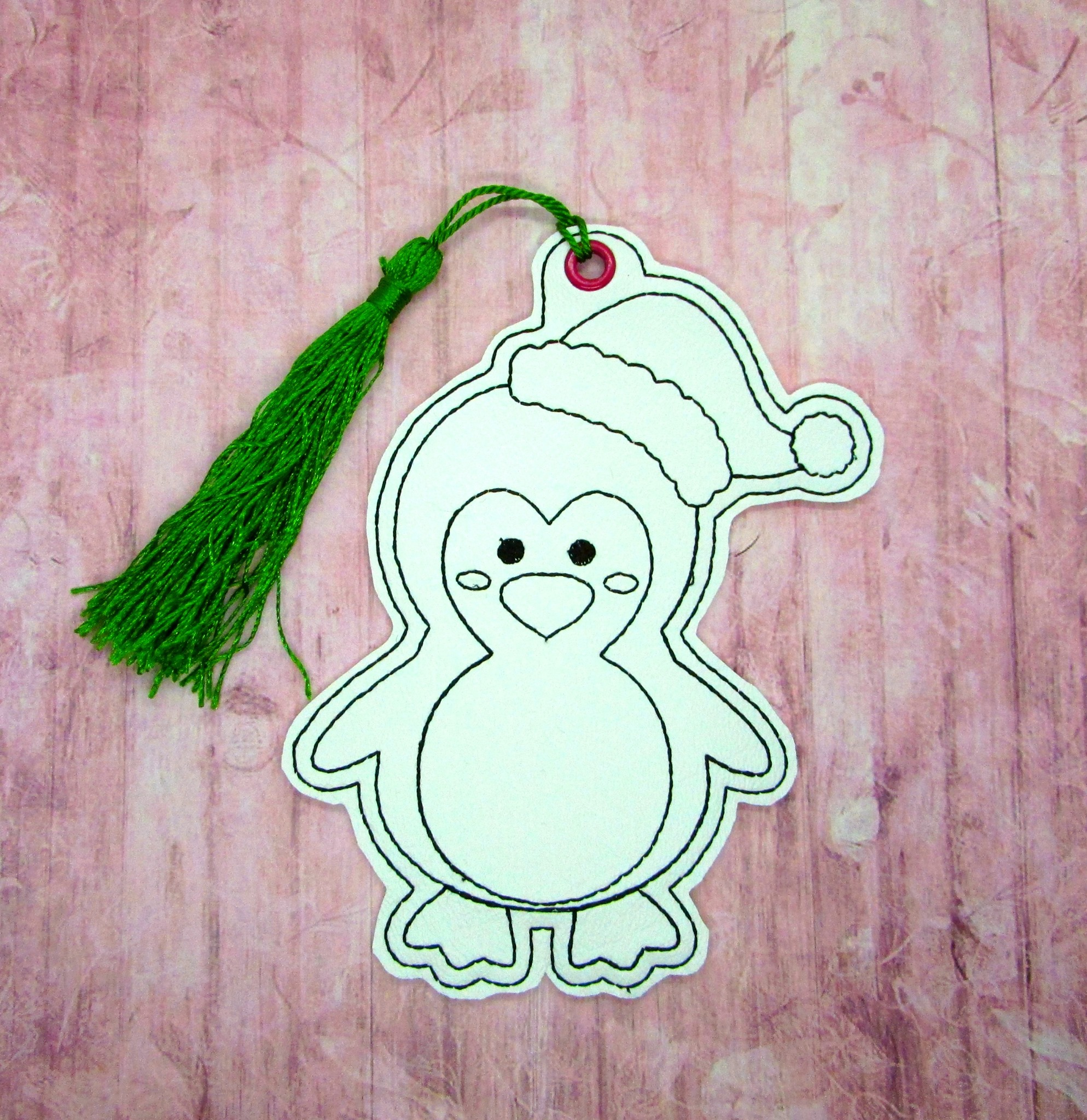 Penguin in Santa Hat Coloring Bookmark Embroidery Design