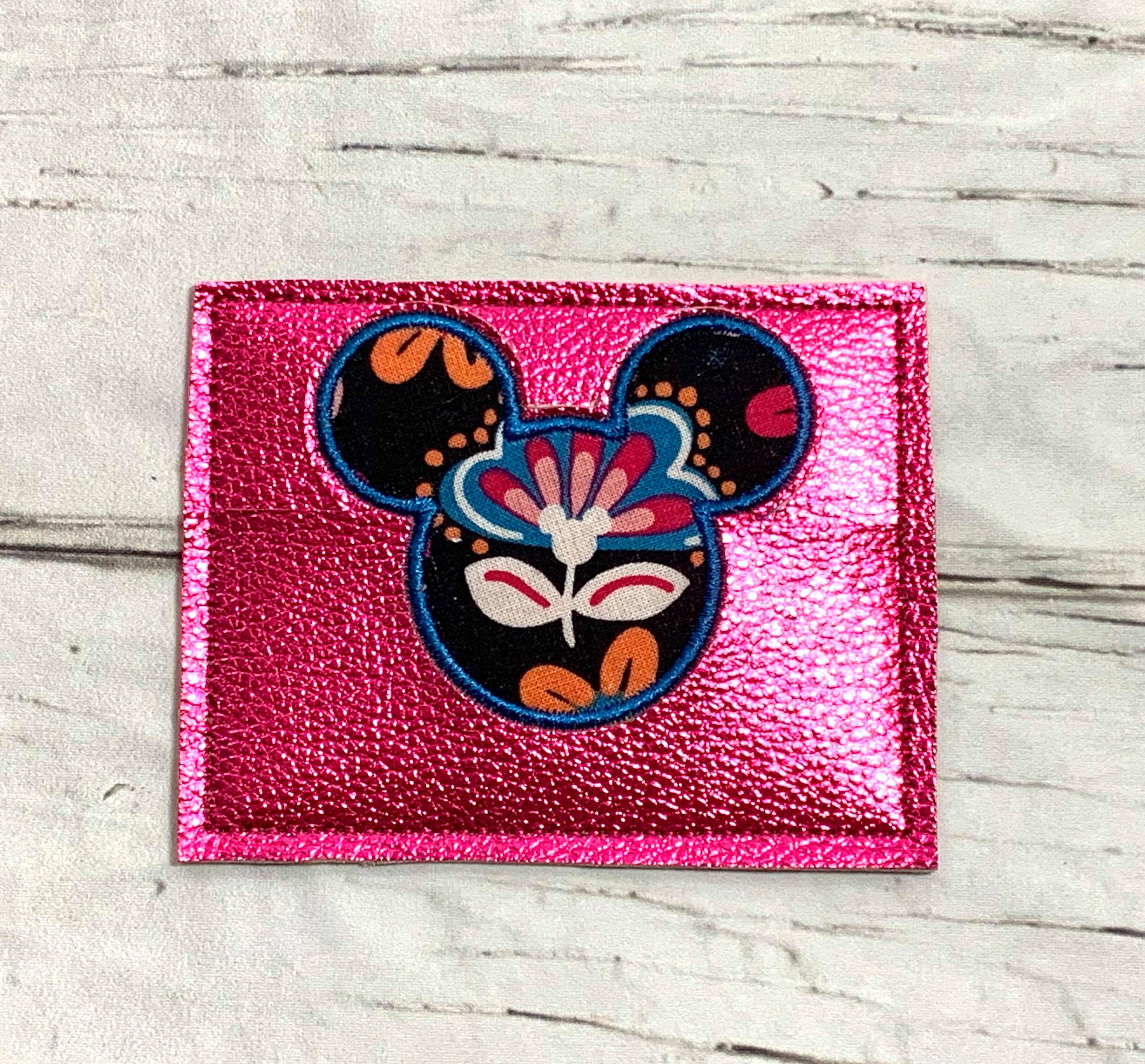 Mr Mouse Head Applique Credit Card / Business Card Holder Embroidery Desgin