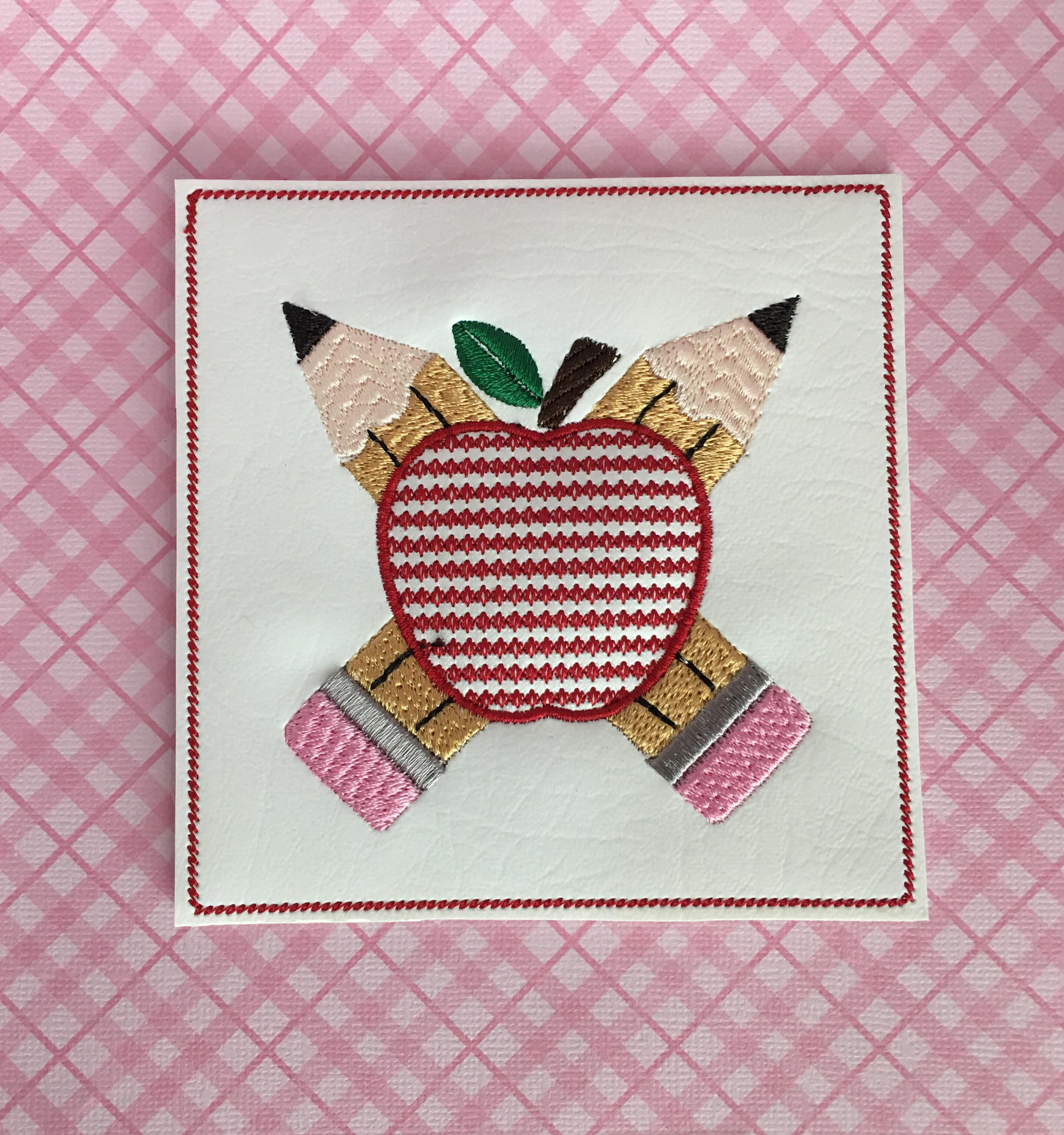 Apple & Pencil Coaster Embroidery Design