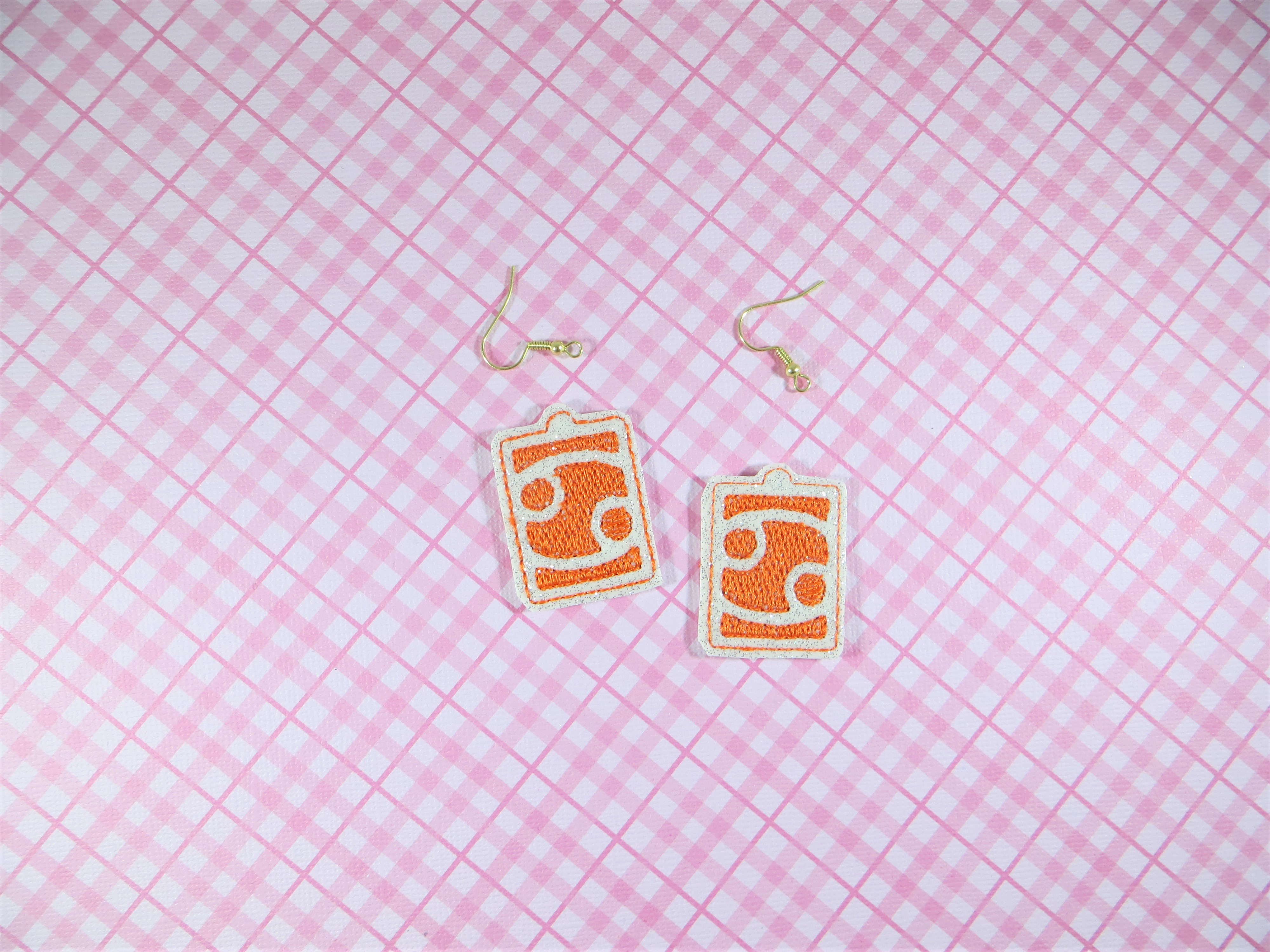 Cancer Zodiac Symbol Earrings Embroidery Design