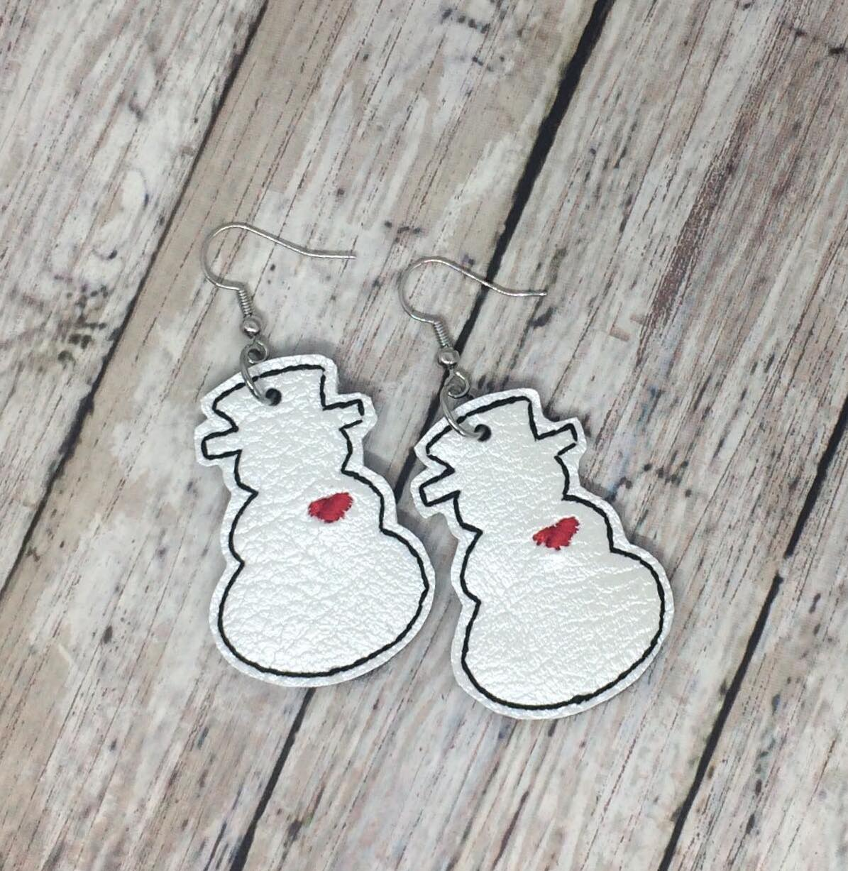 Snowman with Heart Earrings (1.5 inches in size)