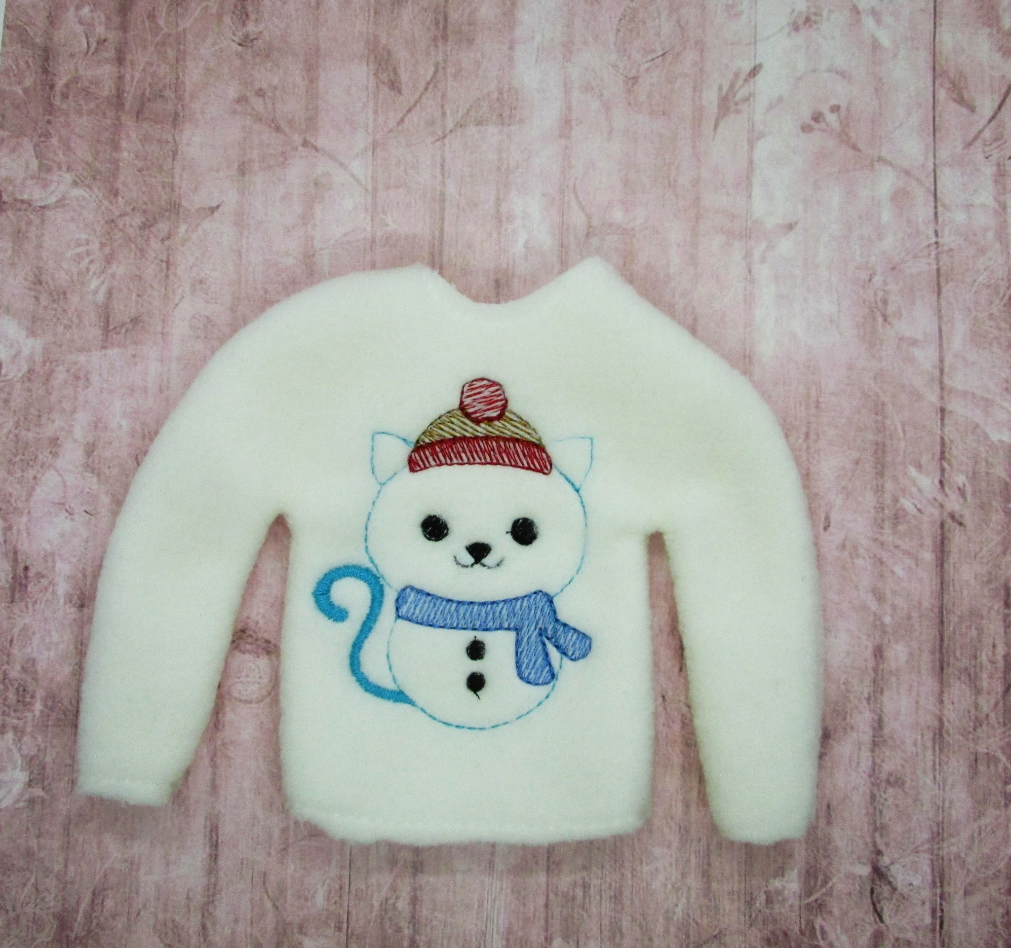 Sketchy Cat Snowman Elf Sweater Embroidery Design