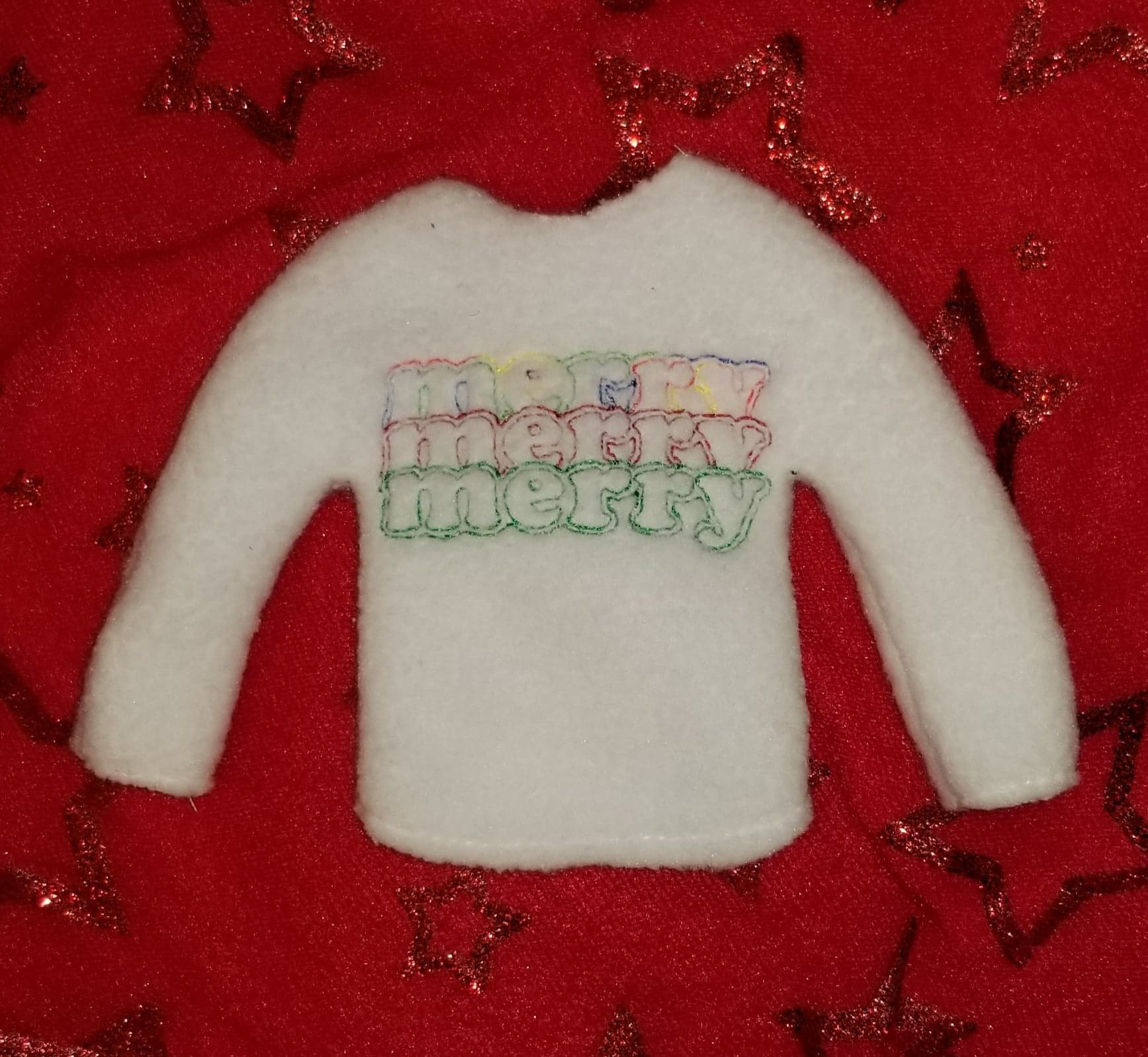Merry x3 Elf Sweater Embroidery Design