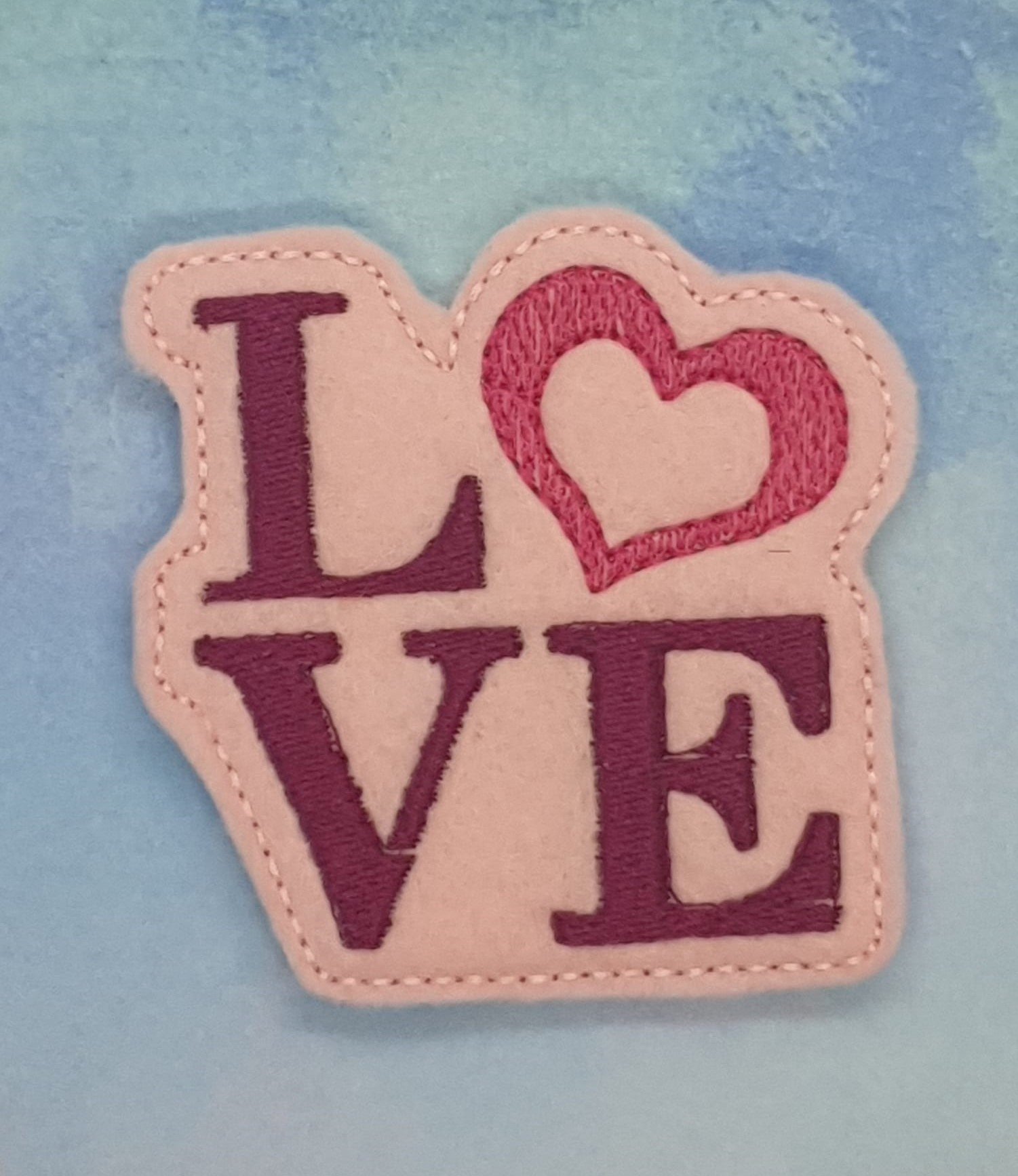 LOVE with heart Feltie Embroidery Design