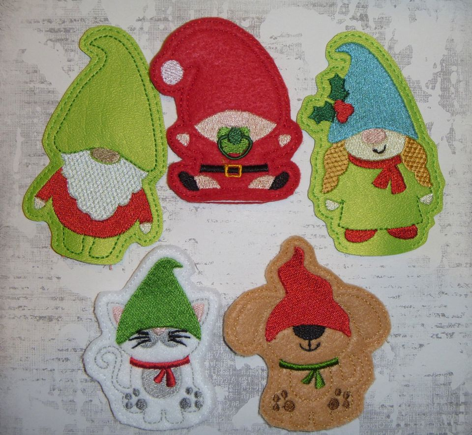 Christmas Gnomes Finger Puppets Embroidery Design (set of 5)