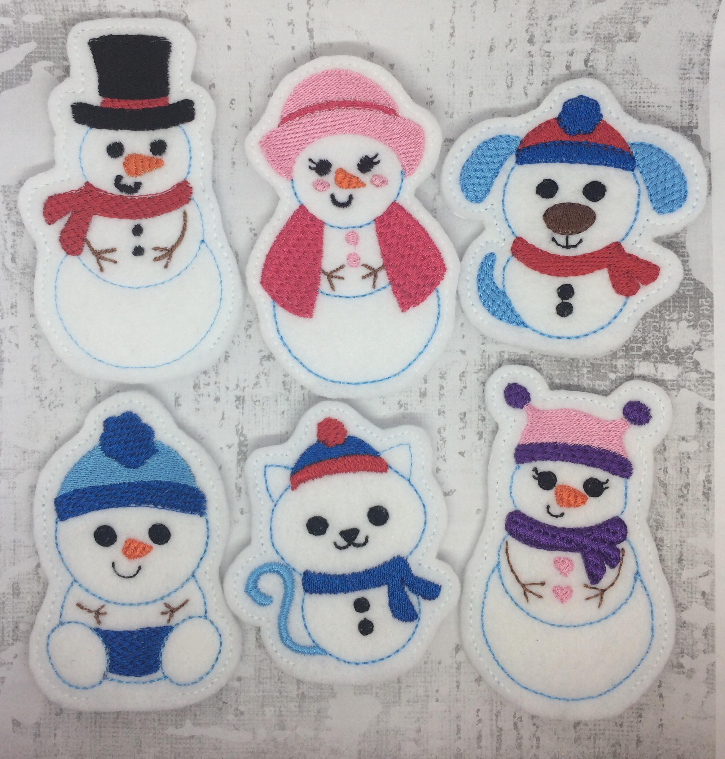 Snow Family Finger Puppets Embroidery Design