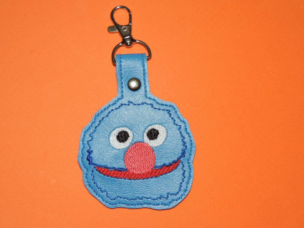 Blue Puppet Snaptab Keyfob Embroidery Design