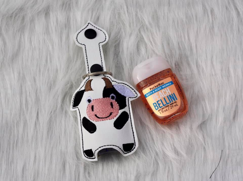 Cow Hand Sanitizer Embroidery Design