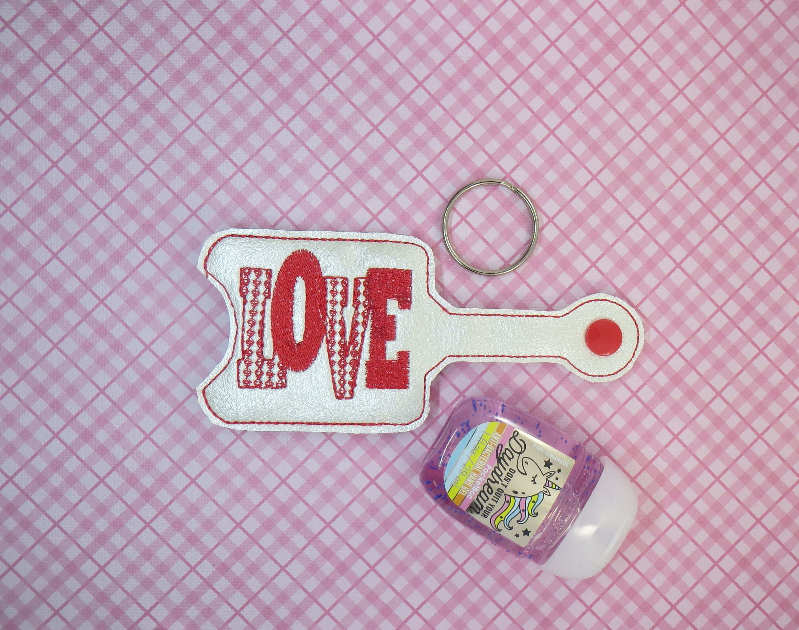 LOVE word Hand Sanitizer Embroidery Design