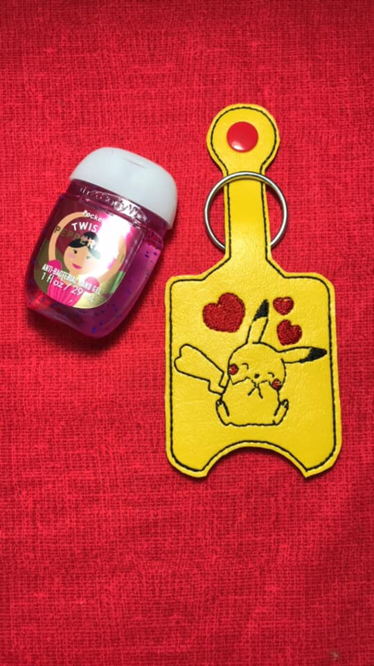 Pikachu Hand Sanitizer Embroidery Design