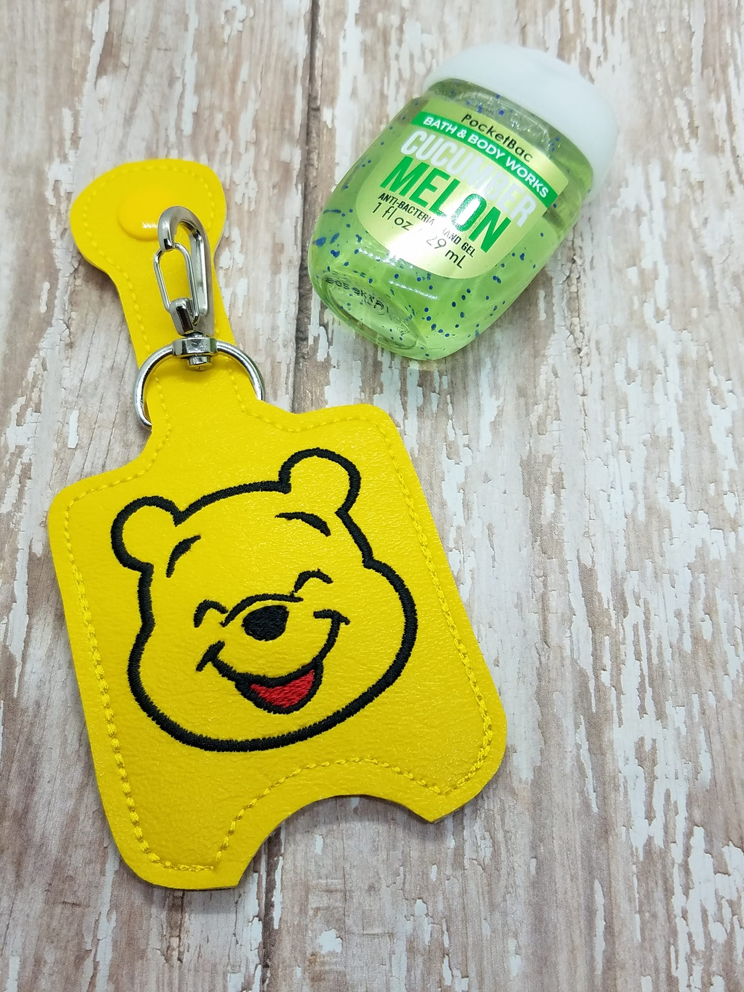 Smiling Honey Bear Hand Sanitizer Embroidery Design