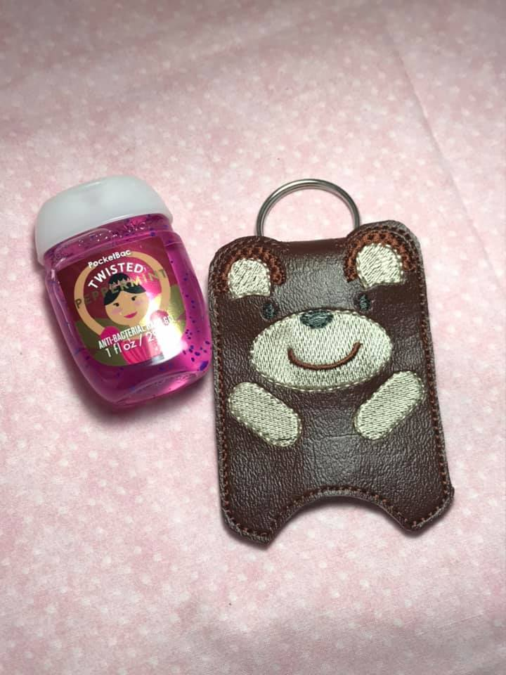 Teddy Bear Hand Sanitizer Holder Embroidery Design