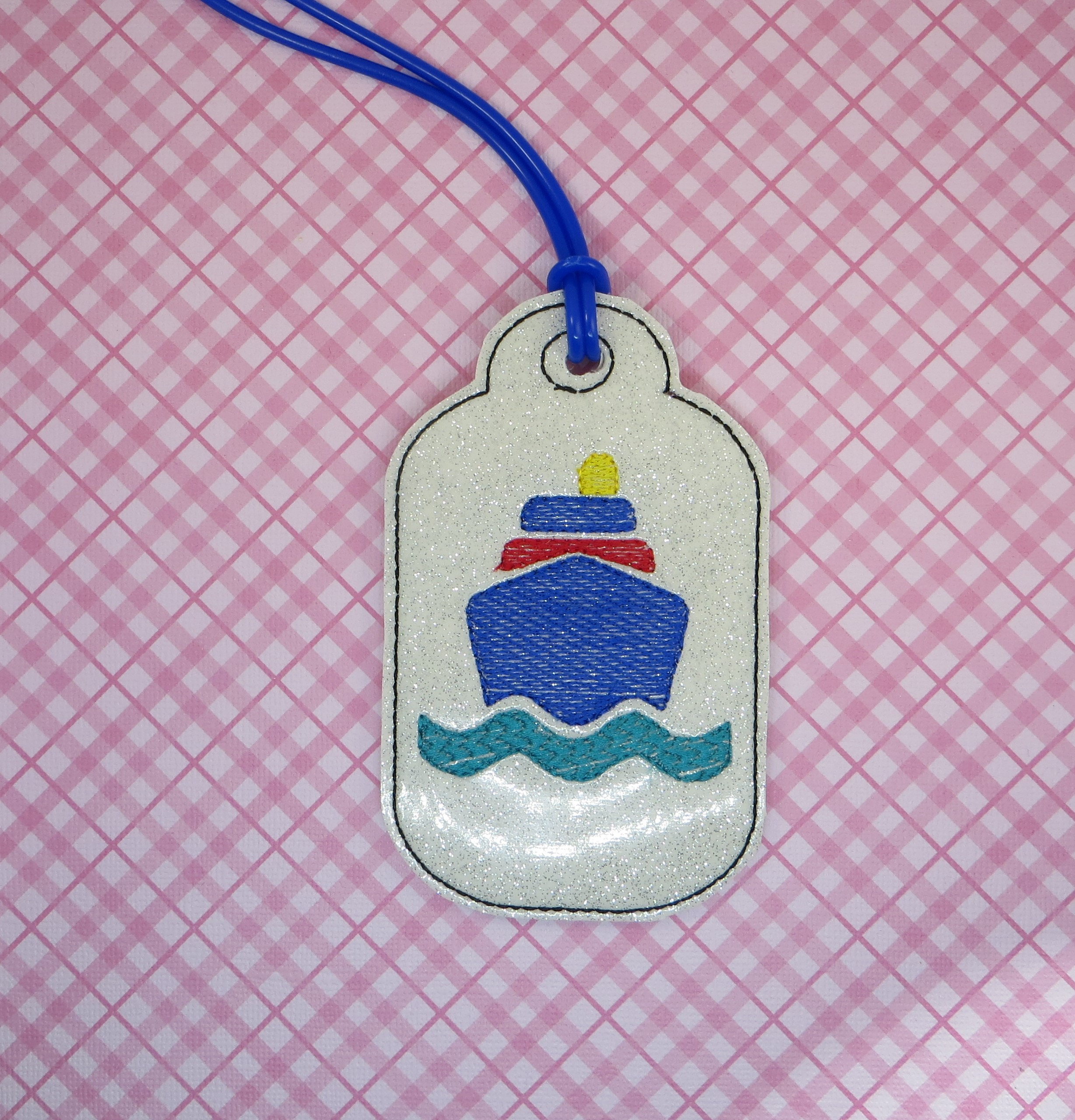 Cruise Theme Luggage Tag Embroidery Design