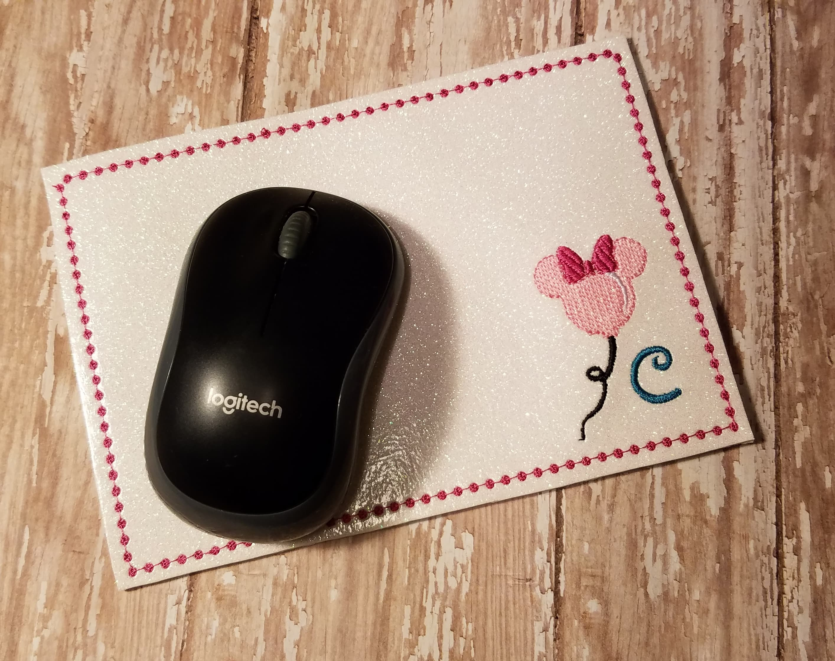 Mrs Mouse Monogrammed Mouse Pad Embroidery Design