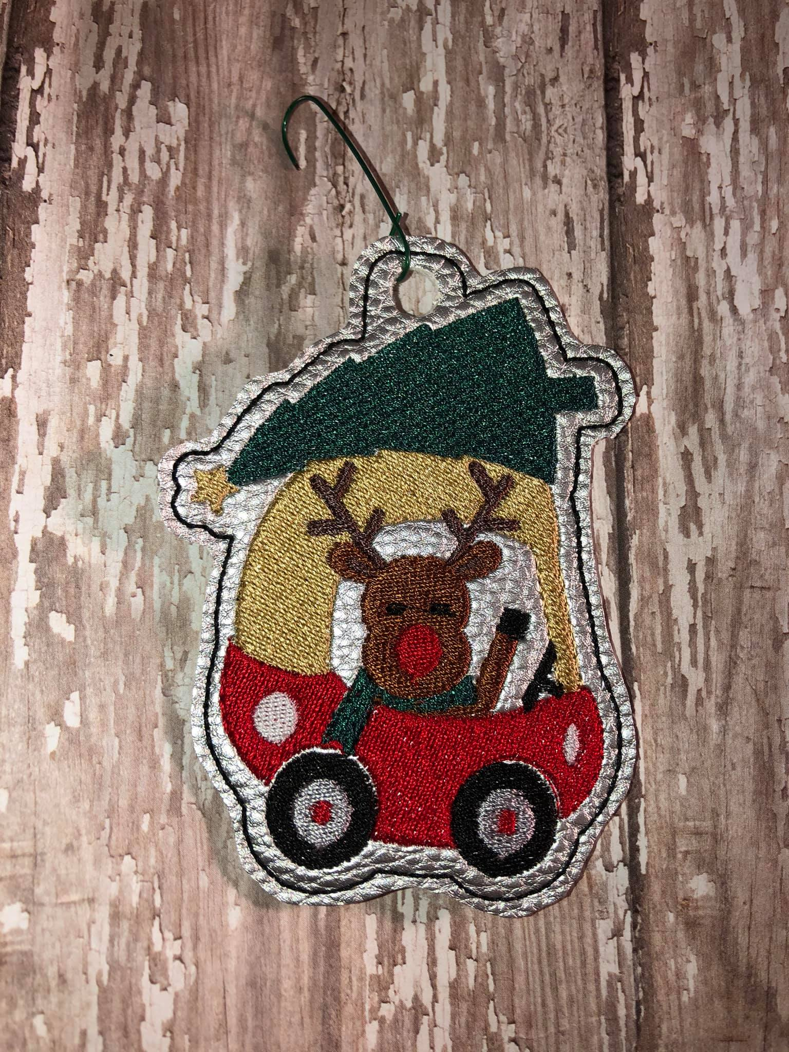 Little Red Car Ornament Embroidery Design