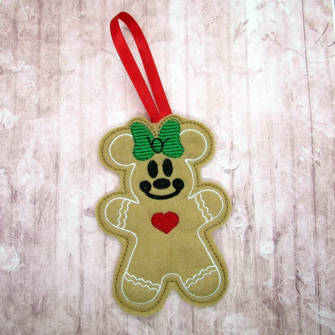 Mrs Mouse Gingerbread Ornament Embroidery Design