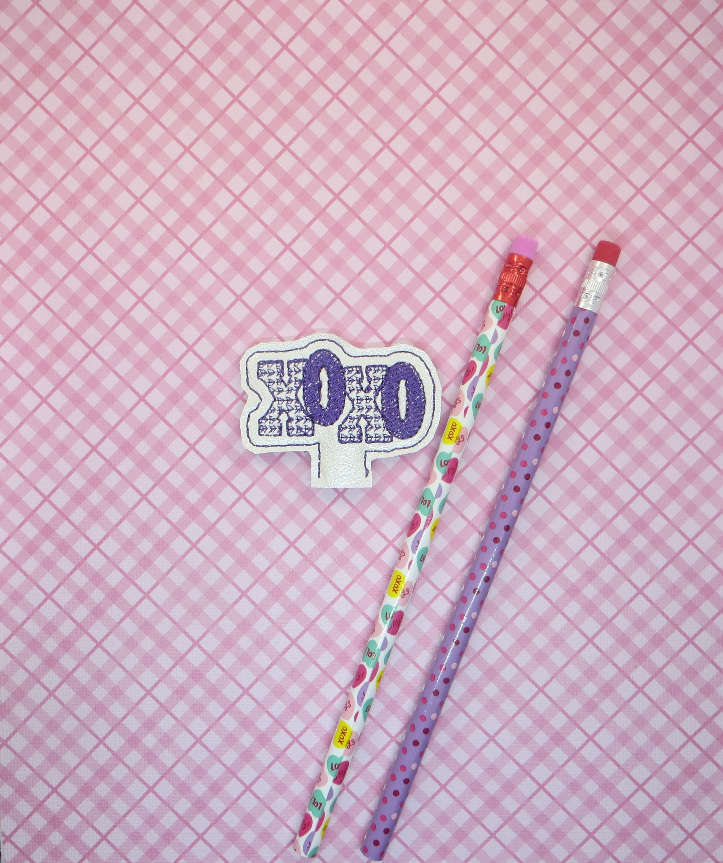 XOXO Pencil Topper Embroidery Design