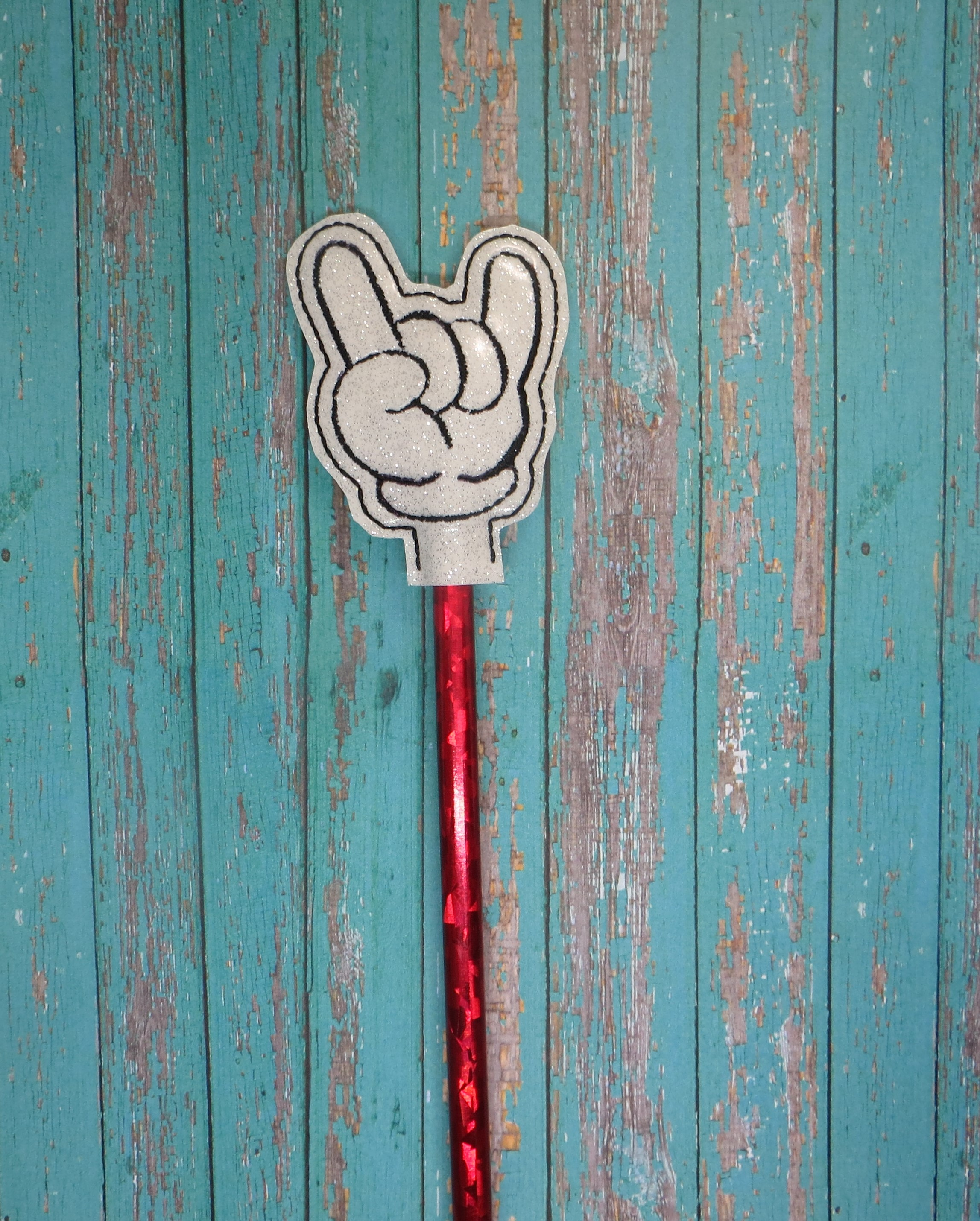 Rock On Mouse Pencil Topper Embroidery Design