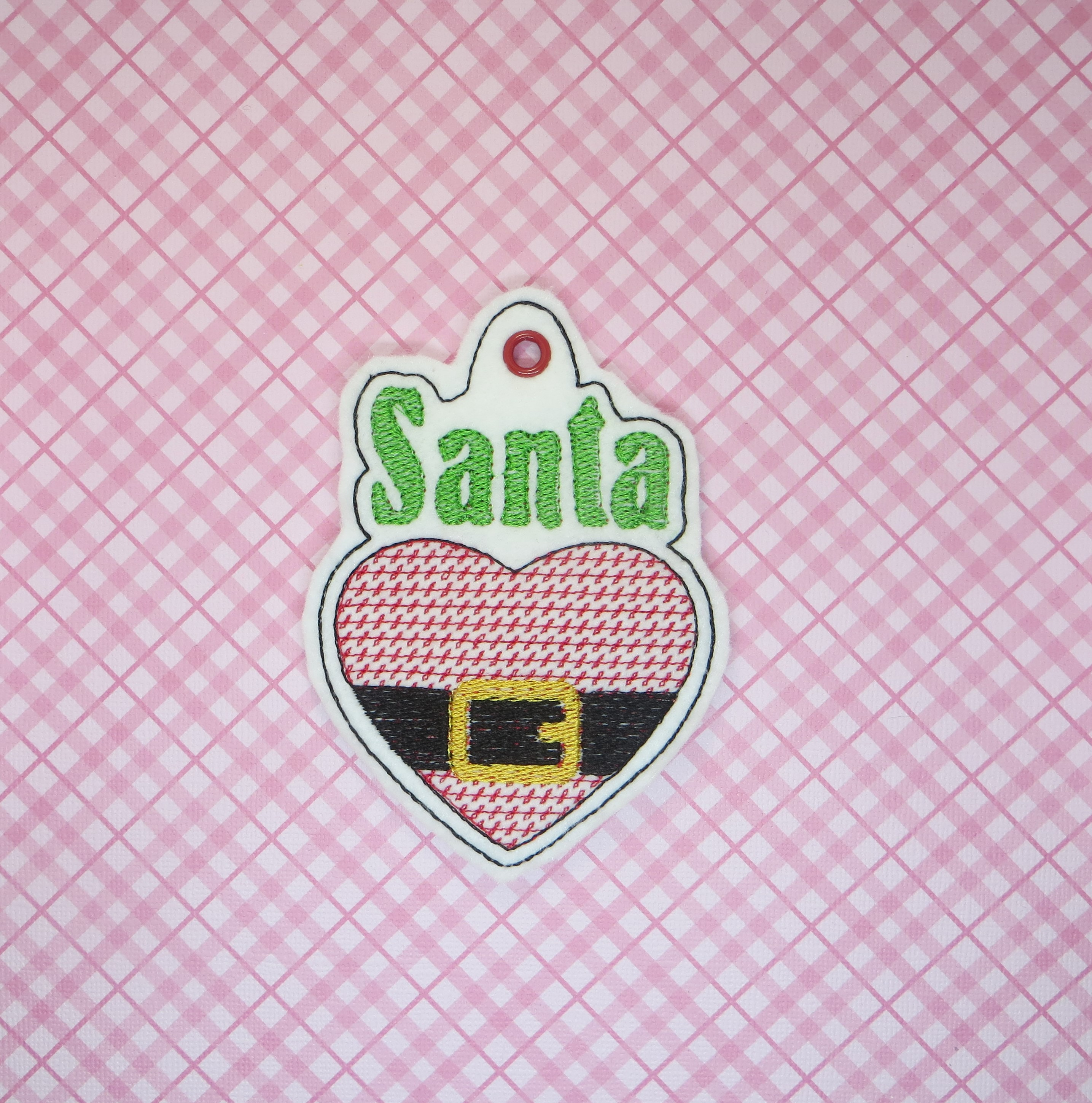Santa Love Ornament Embroidery Design