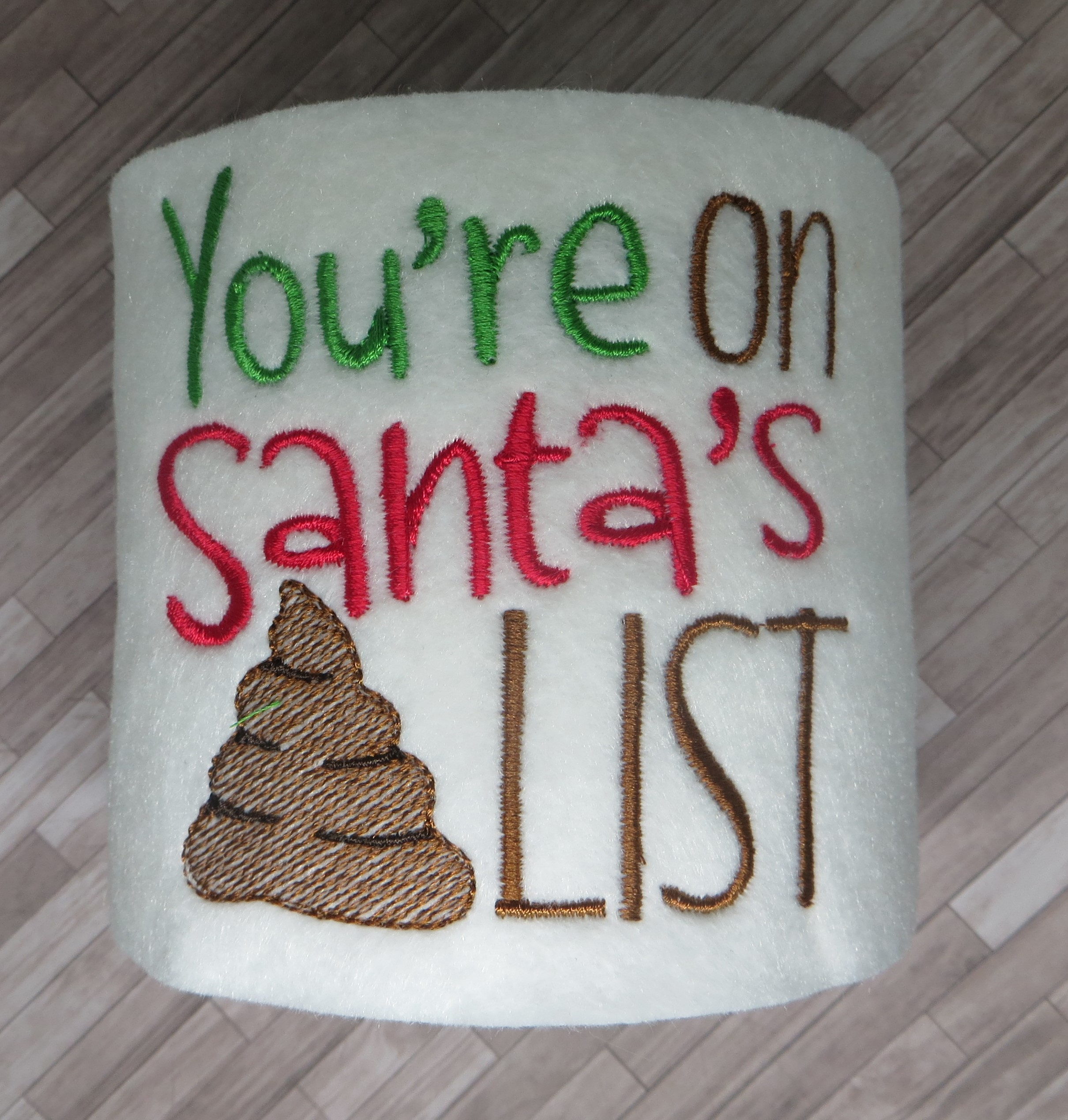 Santa's Poop List Toilet Paper Cover Embroidery Design