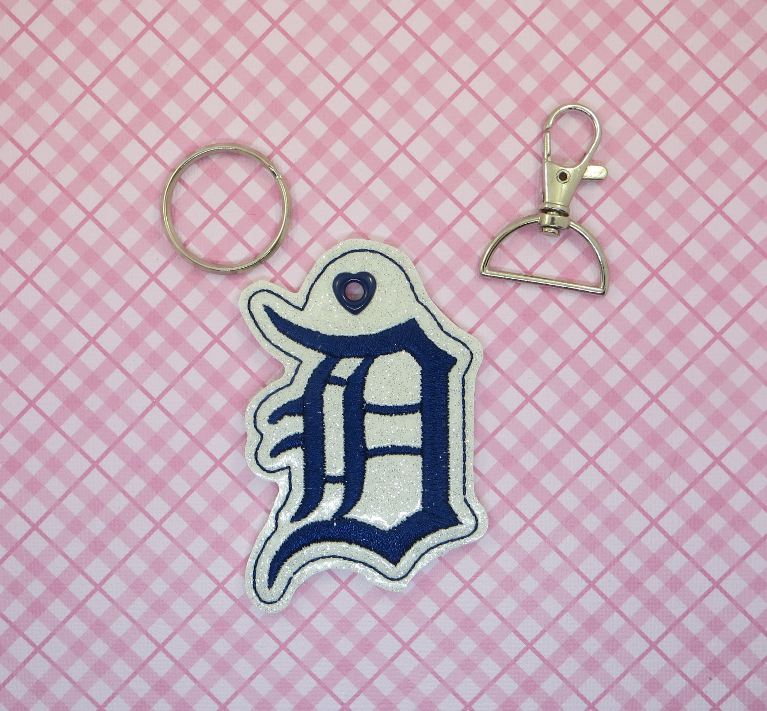 Detroit Tiger Logo Snaptab / Keyfob Embroidery Design