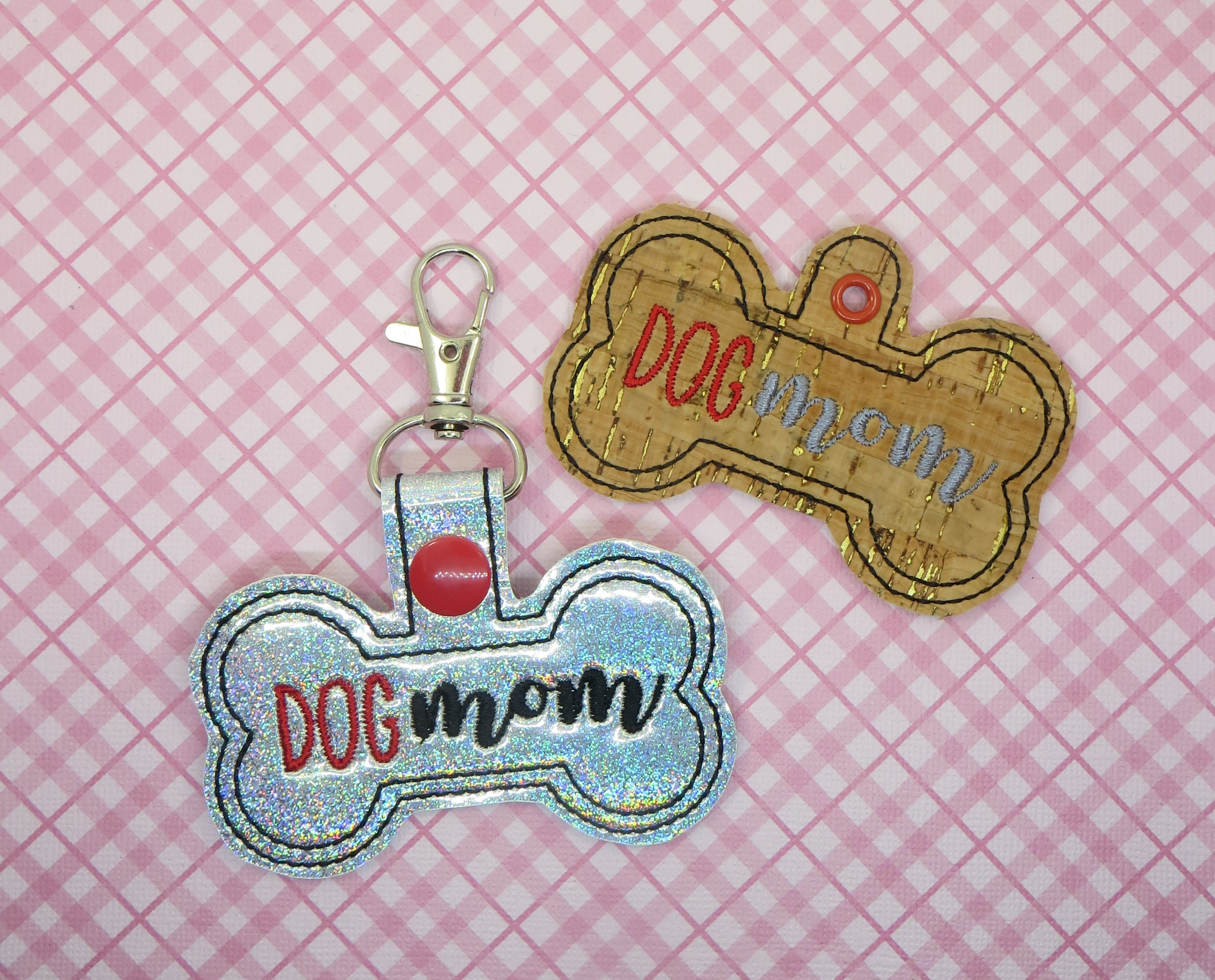 Dog Mom Snaptab / Keyfob Embroidery Design