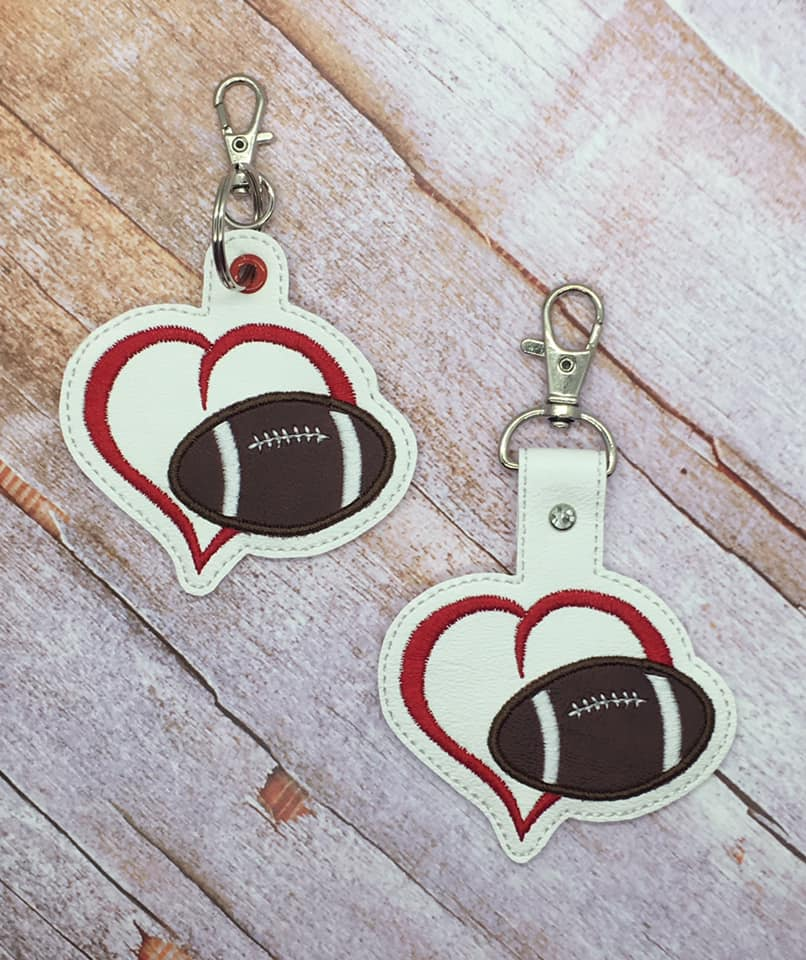 Heart with Football Snaptab / Keyfob Embroidery Design