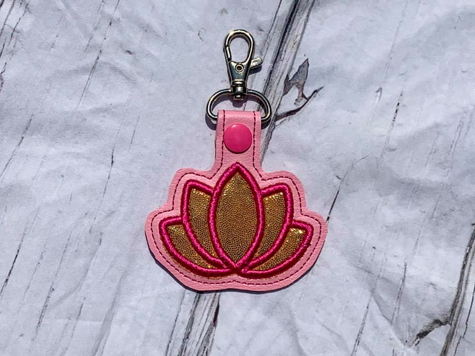 Lotus Flower Applique Snaptab / Keyfob Embroidery Design