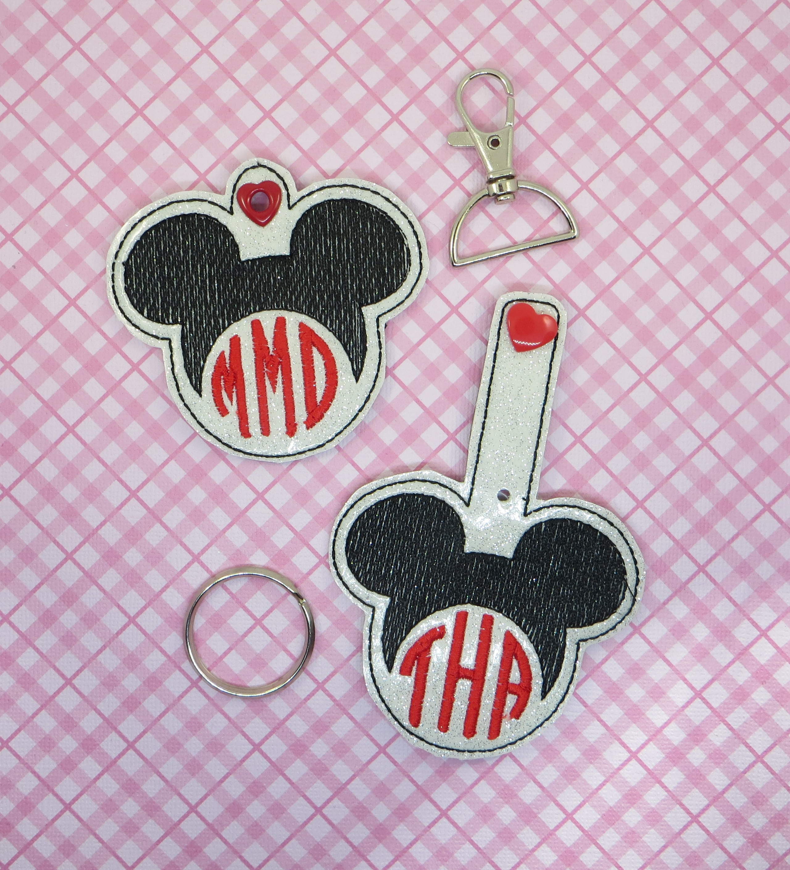 Mr Mouse Monogram Snaptab / Keyfob Embroidery Design