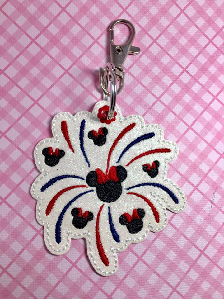Mrs Mouse Firework Snaptab / Keyfob Embroidery Design