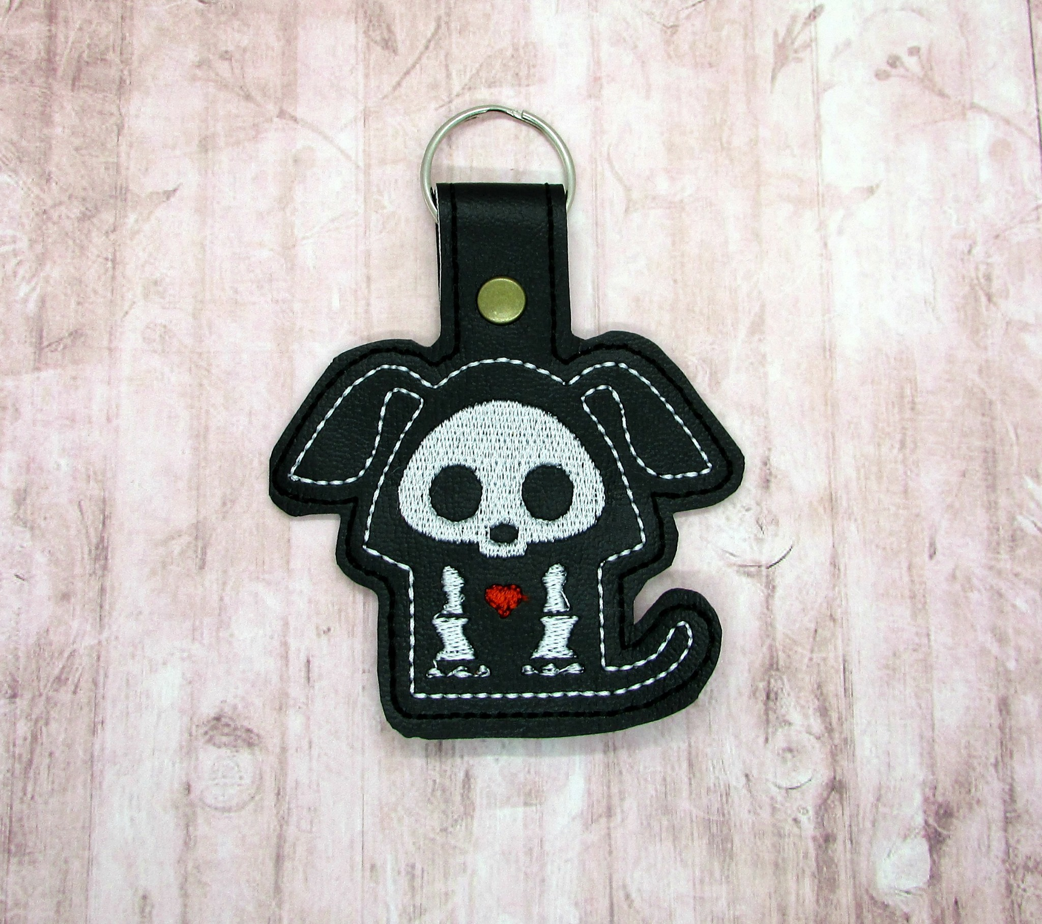 Puppy Skeleton Snaptab / Keyfob Embroidery Design