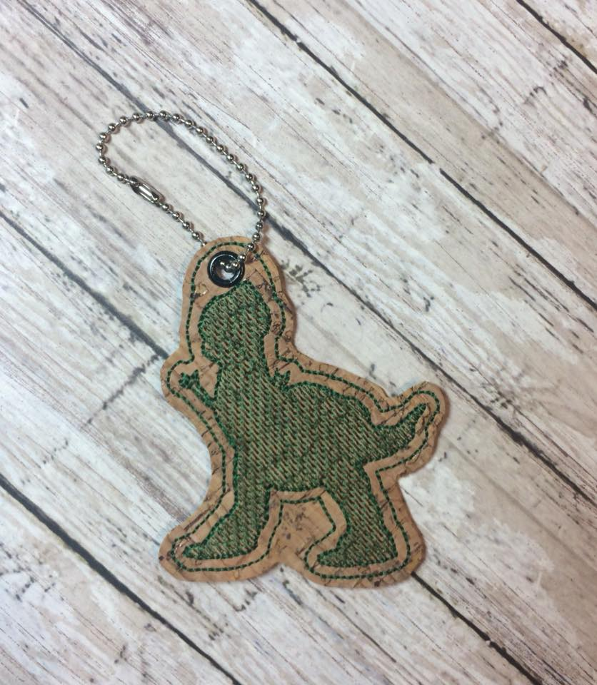 Rex Silhouette Snaptab / Keyfob Embroidery Design