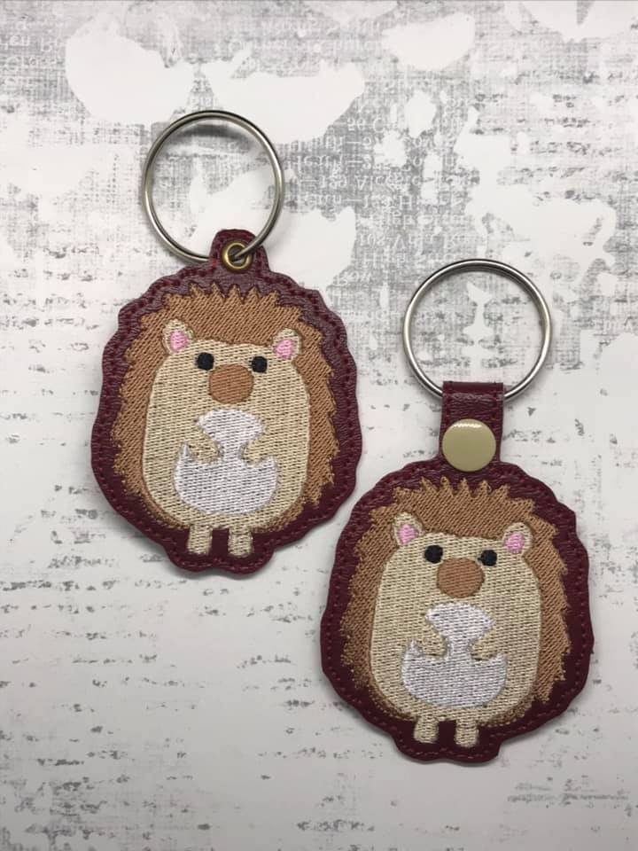 Hedgehog Snaptab / Keyfob Embroidery Design