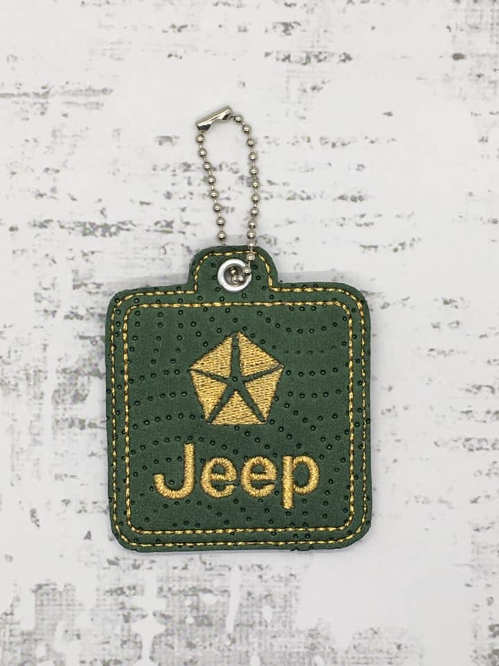 Jeep Logo Snaptab / Keyfob Embroidery Design