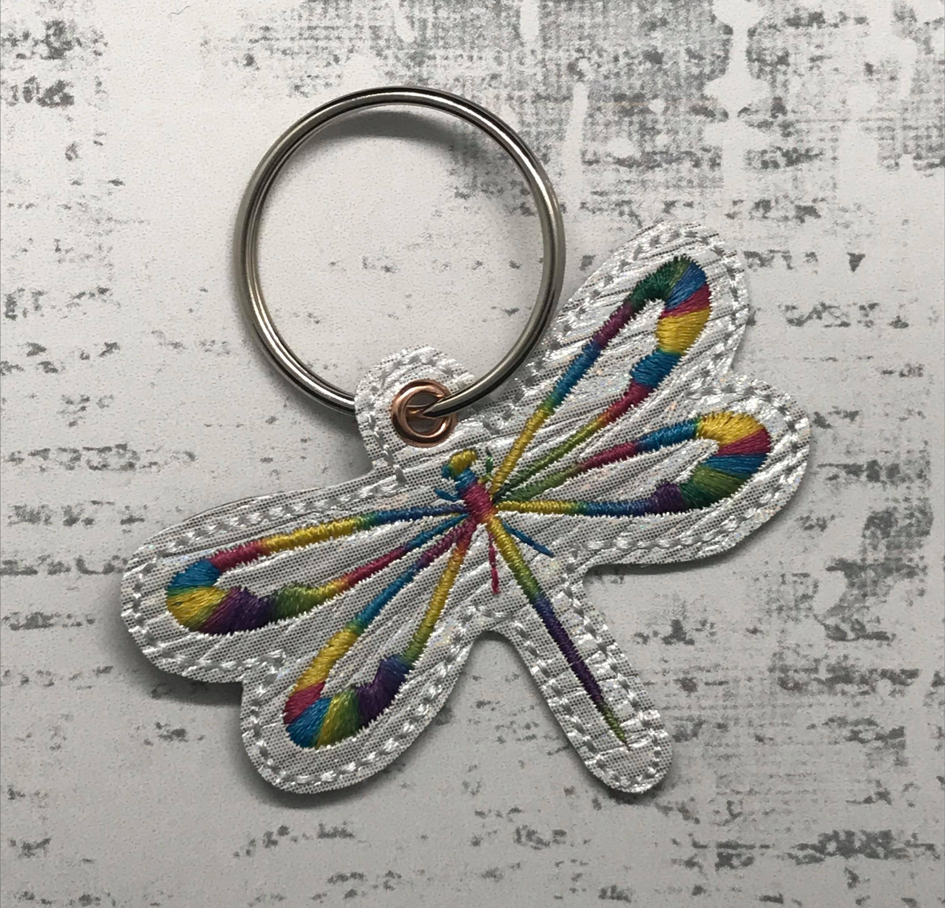 Satin Dragonfly Snaptab / Keyfob Embroidery Design