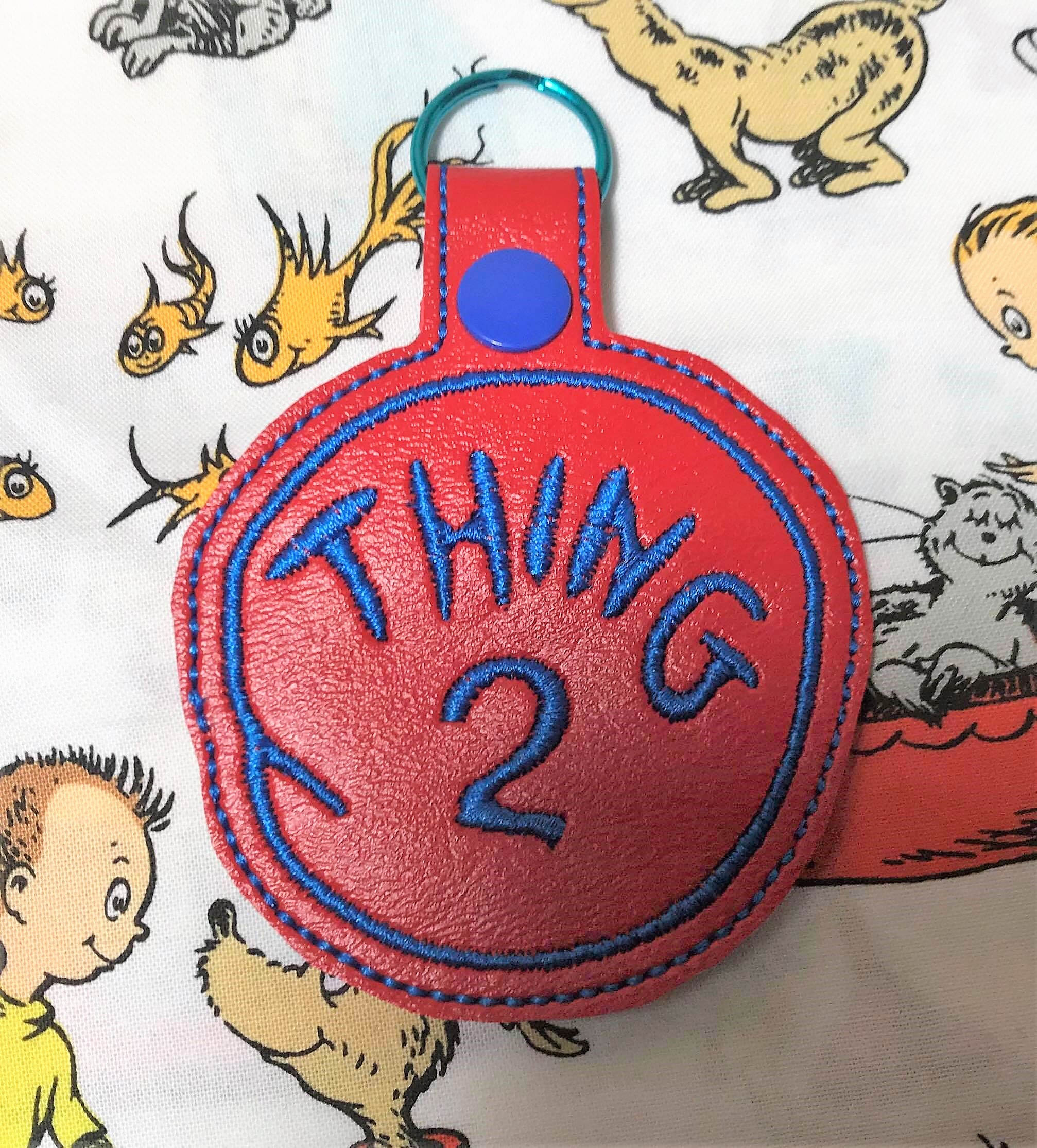 Thing 2 Snaptab Keyfob Embroidery Design