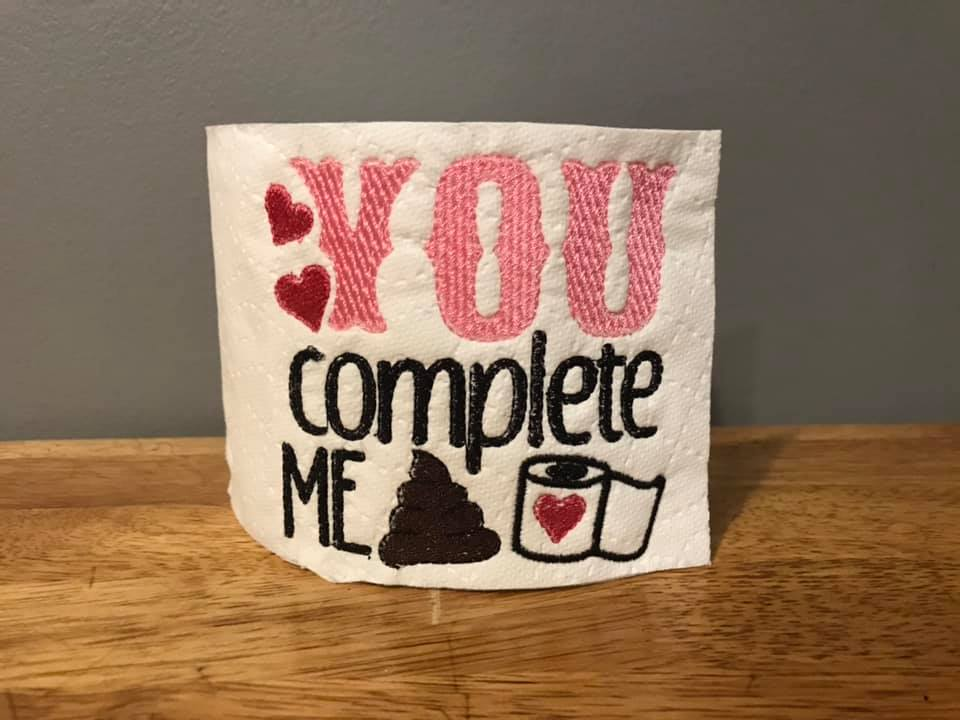 You Complete Me Toilet Paper Cover Embroidery Design