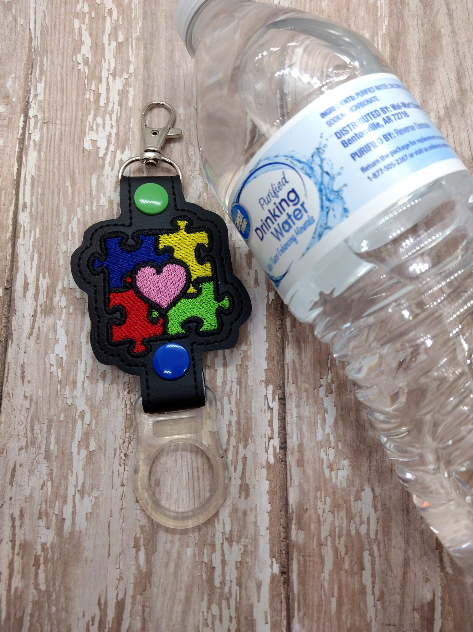 Autism Awareness Water Bottle Holder Embroidery Design
