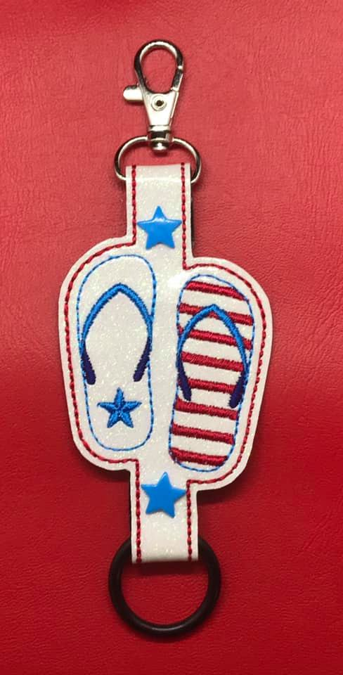 Flip Flop 4th of July Water Bottle Holder Embroidery Design
