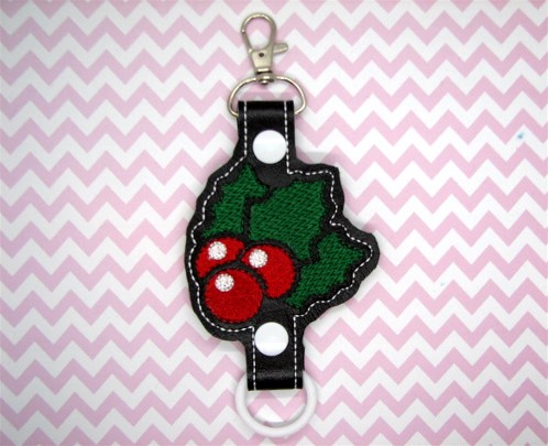 Holly Berries Water Bottle Holder Embroidery Design
