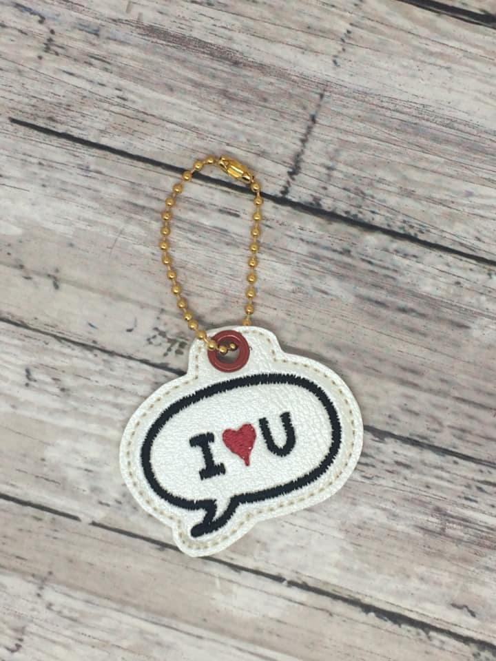 I love you Zipper Pull Embroidery Design