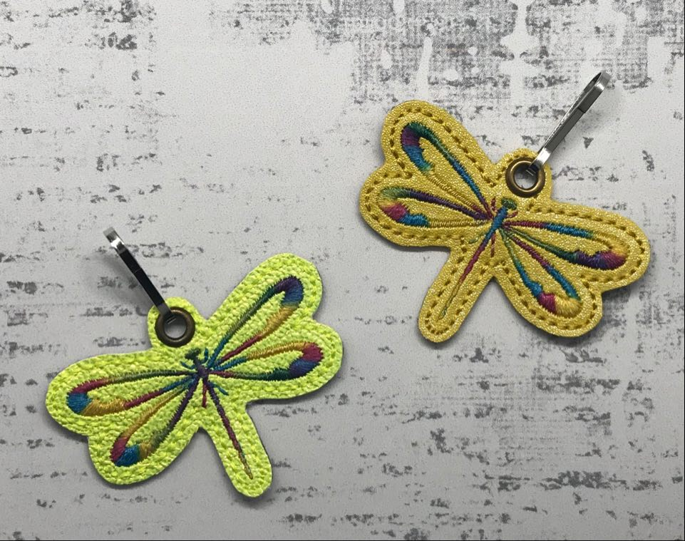 Satin Stitch Dragronfly Zipper Pull Embroidery Design