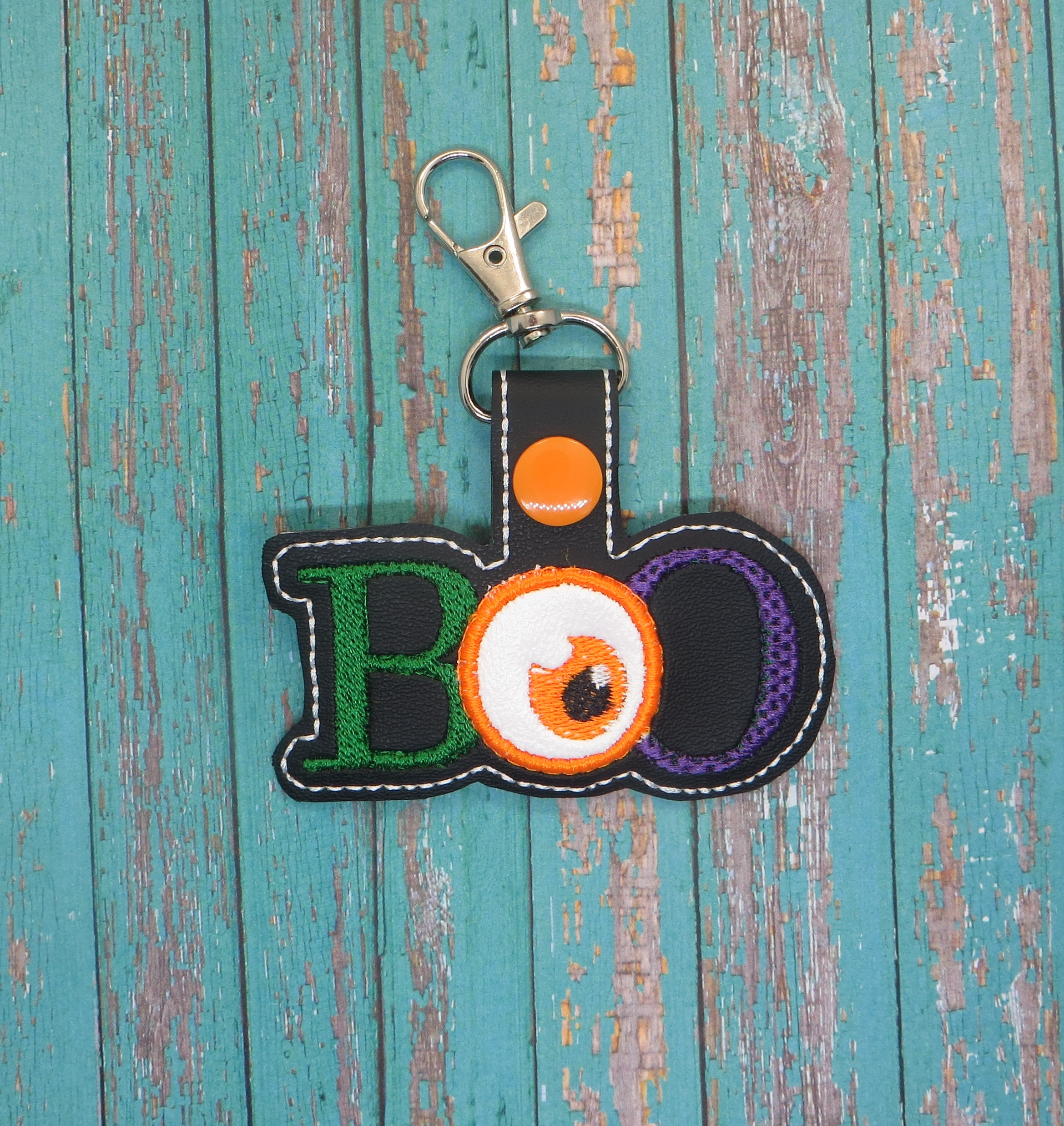 BOO Halloween Snaptab / Key Fob Embroidery Design