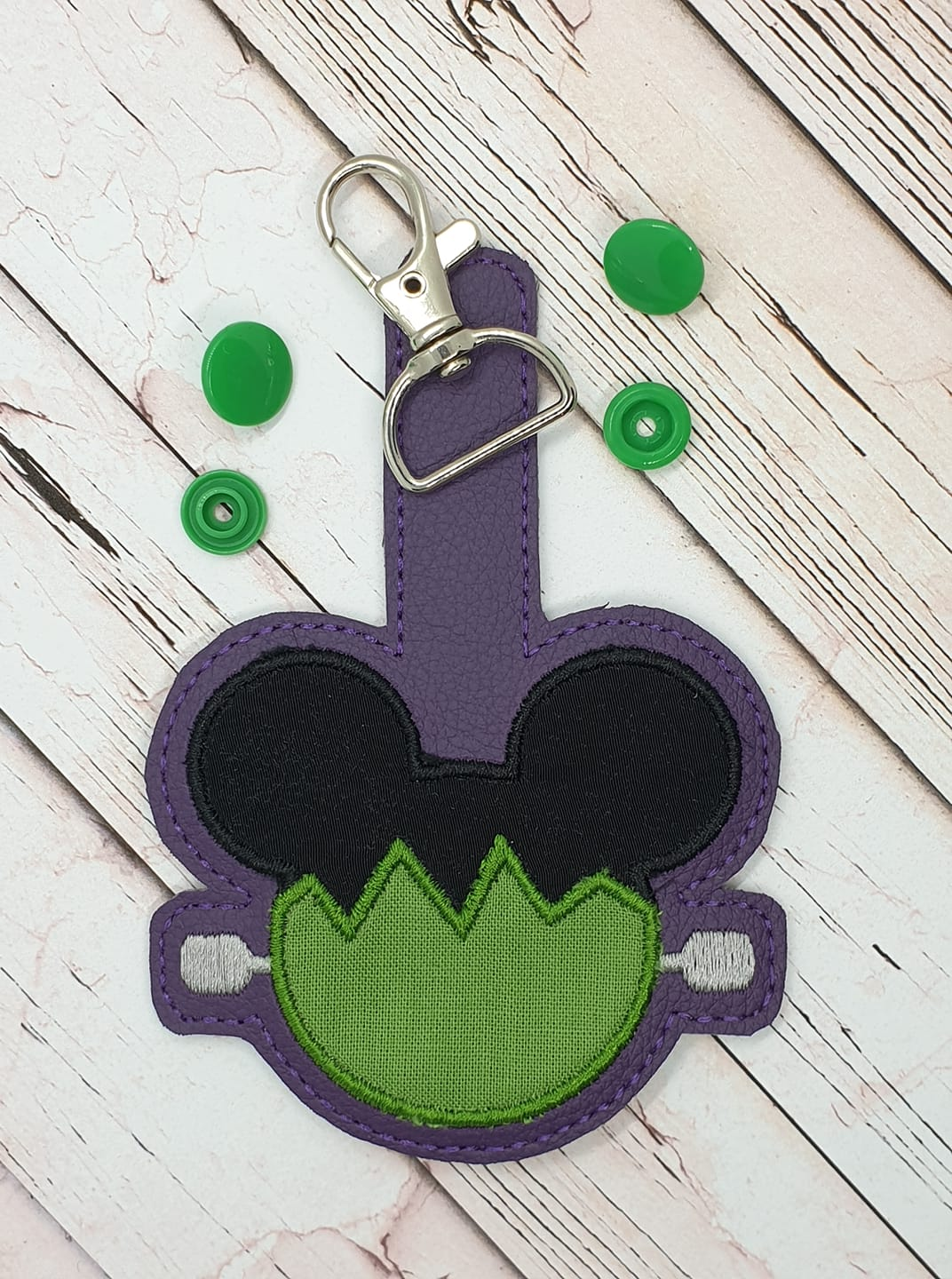 Frankenstein Ears Snaptab / Keyfob Embroidery Design